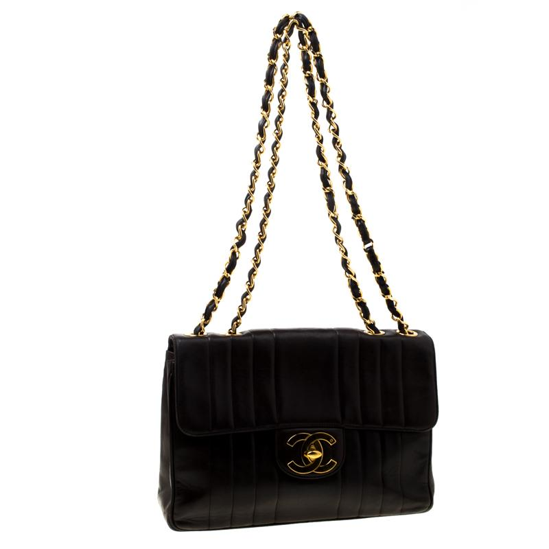 4d9b799c1d29 Chanel - Brown Black Vertical Quilted Leather Jumbo Vintage Classic Single  Flap Bag - Lyst. View fullscreen