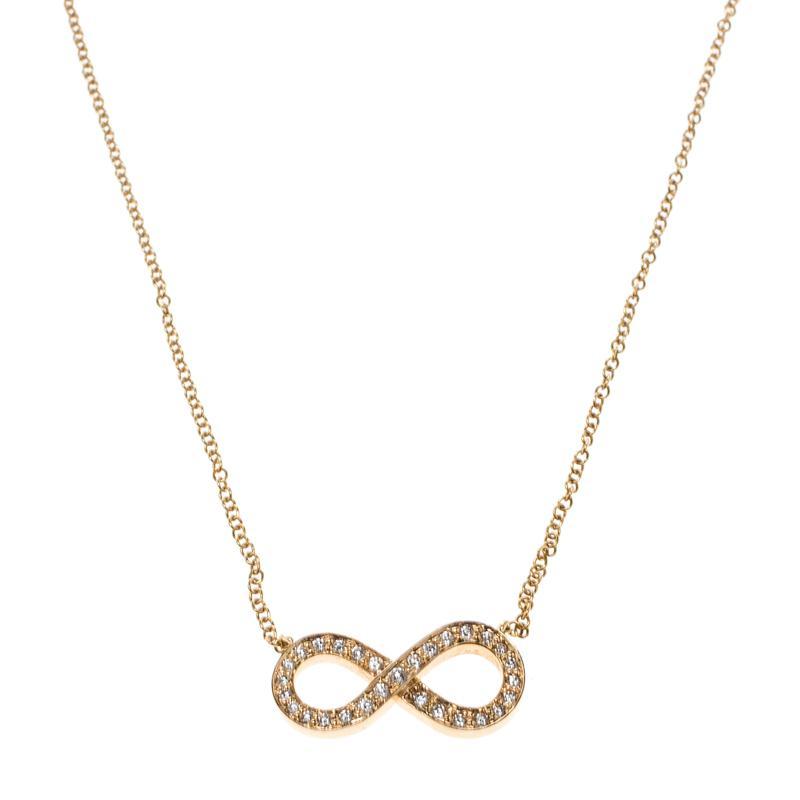 f294e8da5 Tiffany & Co. Infinity Diamond 18k Rose Gold Chain Necklace in ...