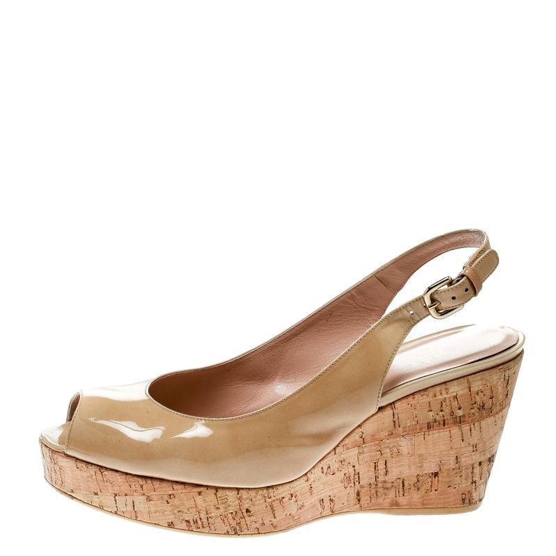 eda22c9e5eb9 ... Patent Leather Jean Peep Toe Cork Wedge Slingback Sandals - Lyst. View  fullscreen