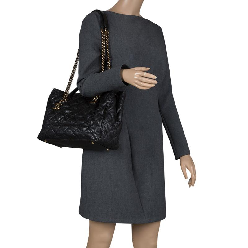 1c7ab0488fcf Lyst - Chanel Quilted Caviar Leather Shiva Tote in Black