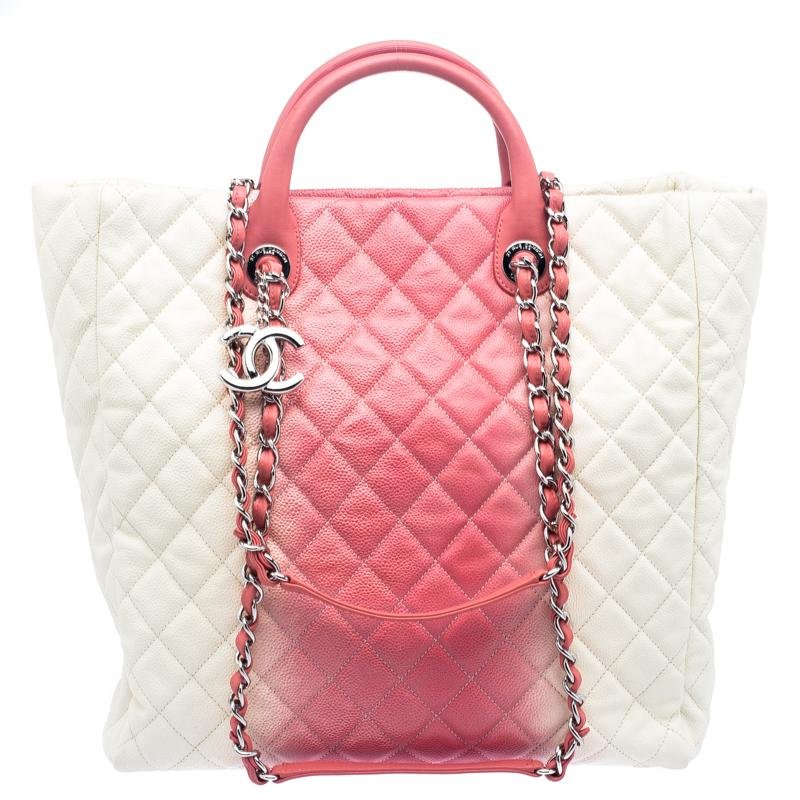 3e82a1adb231 Chanel Cream/rose Ombre Quilted Caviar Leather Shopping Tote in Pink ...