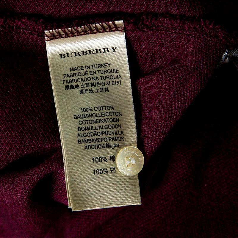91c93c3e5 Burberry Brit Burgundy Honeycomb Knit Novacheck Placket Detail Polo ...
