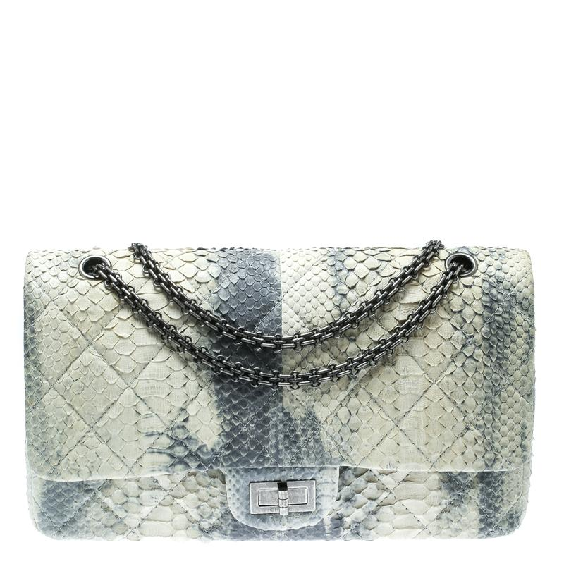 59ceed293c3e14 Chanel. Women's Off White/blue Quilted Python Reissue 2.55 Classic 227 Flap  Bag