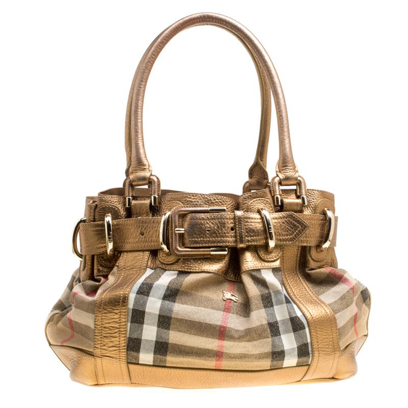 9aebba27bd00 Burberry. Women s Metallic Leather And House Check Fabric Bridle Tote