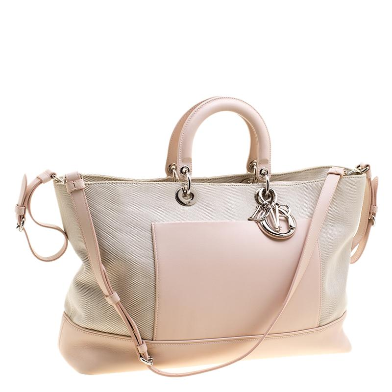 20af64c8221806 Dior - Natural Beige/pink Canvas And Leather Nappy Diaper Bag - Lyst. View  fullscreen