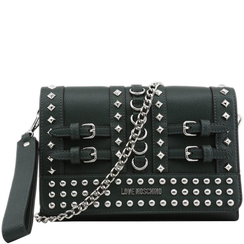 a84c4d25baa Moschino Love Faux Leather Studded Chain Clutch Bag in Green - Lyst