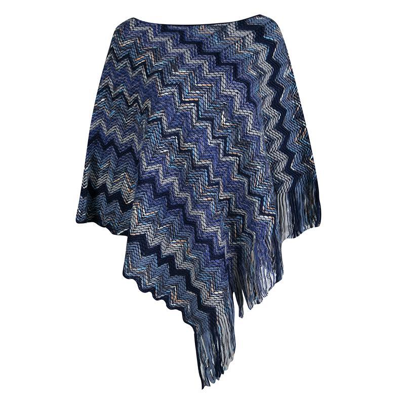 Lyst Missoni Chevron Pattern Chunky Knit Fringed Edge Poncho M In Blue