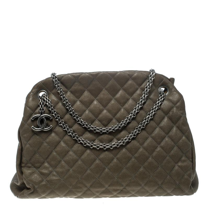 17c9224c90a048 Chanel. Women's Brown Khaki Quilted Leather Large Just Mademoiselle Bowling  Bag