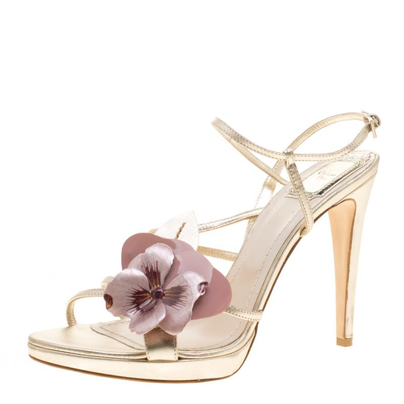 08aa40a079e Dior. Women s Metallic Light Gold Leather Flower Embellished Sandals ...