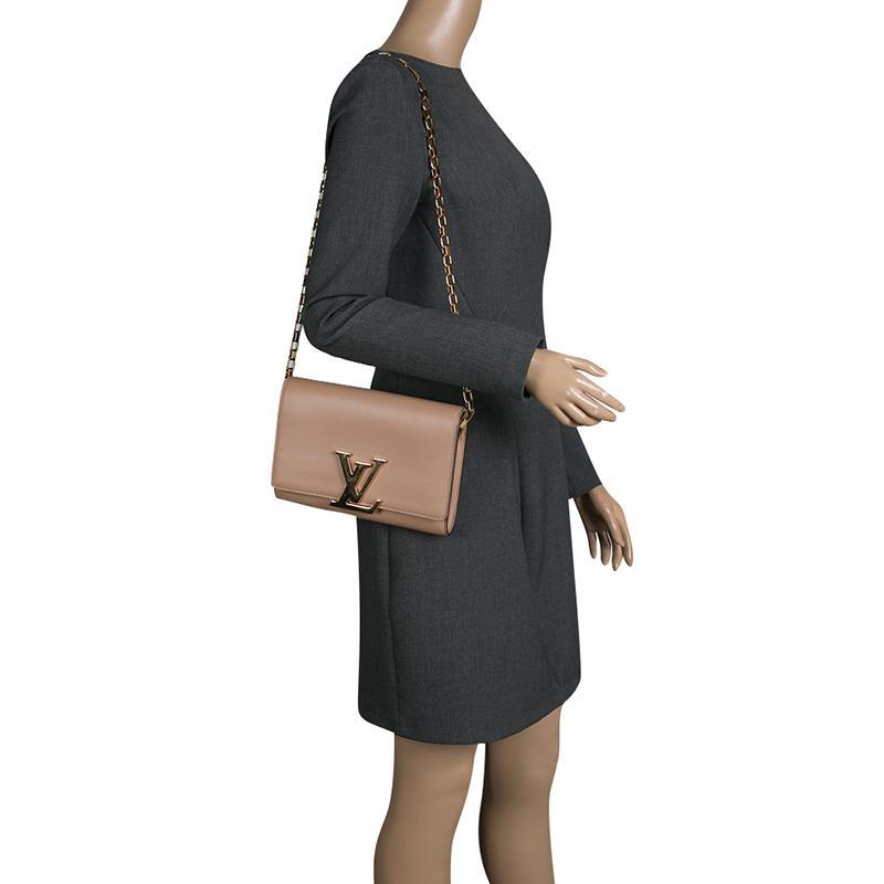65ffa7e2b4aa Lyst - Louis Vuitton Leather Chain Louise Gm Bag in Natural