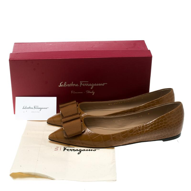 f8aae99b6 Lyst - Ferragamo Croc Embossed Leather Mimi Pointed Toe Flats in Brown