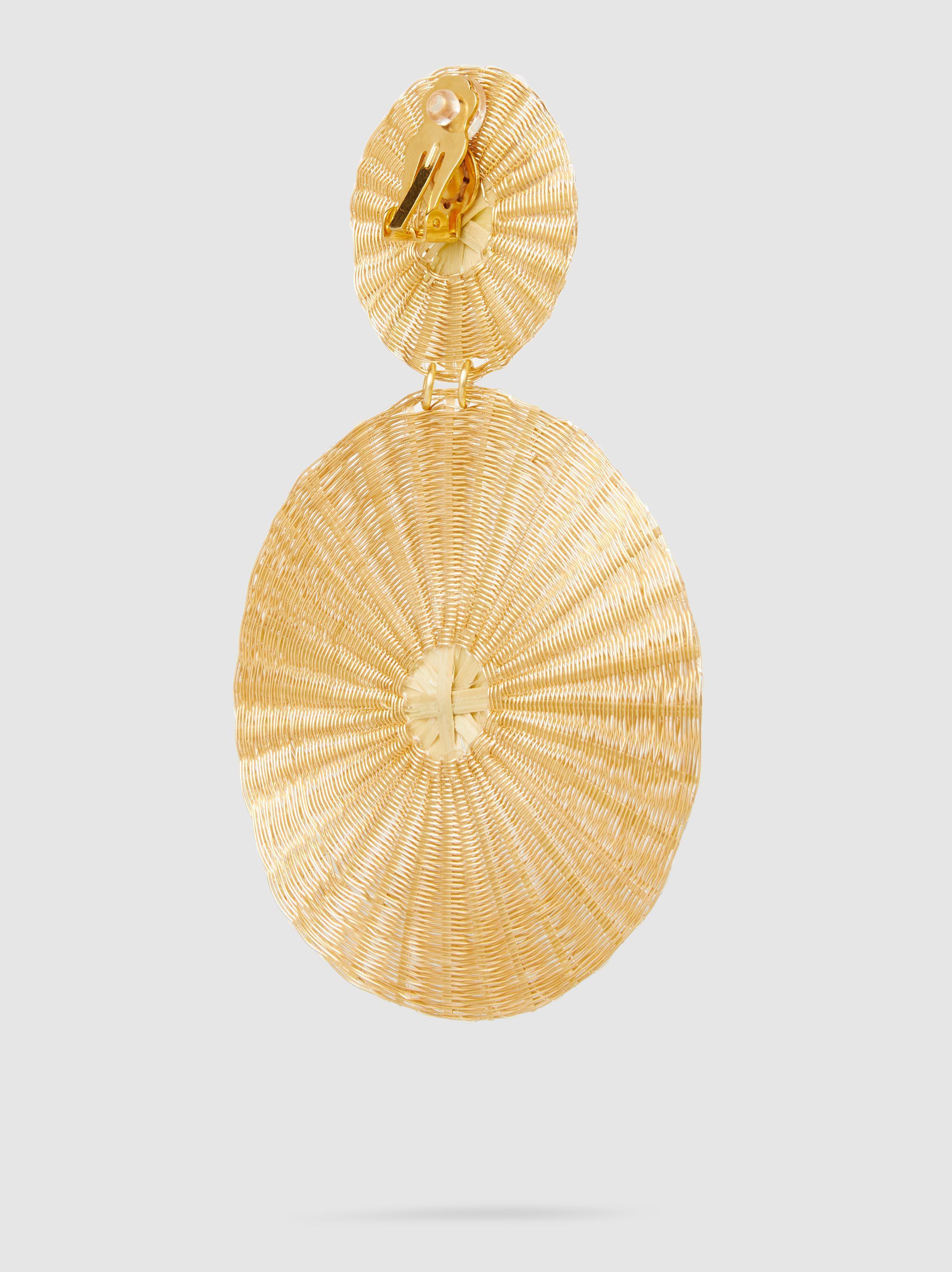 Dos Soles Dorados Raffia Gold-Tone Earrings Mercedes Salazar 8NCQe