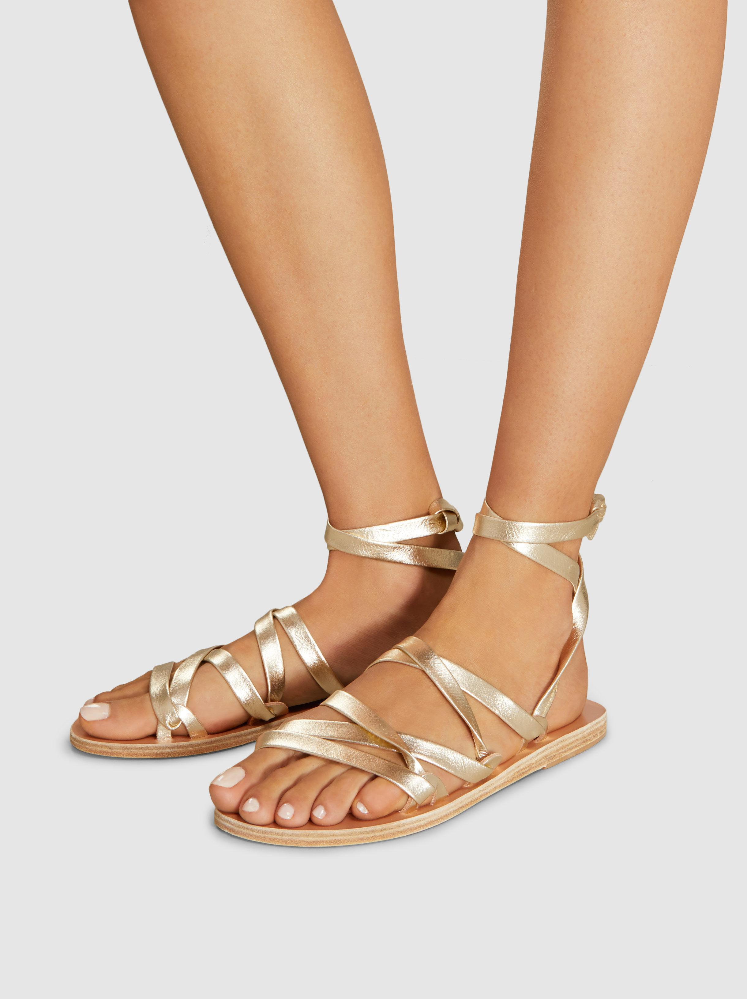 Simply Kariatida Low Metallic Leather Sandals Ancient Greek Sandals JKI8Z