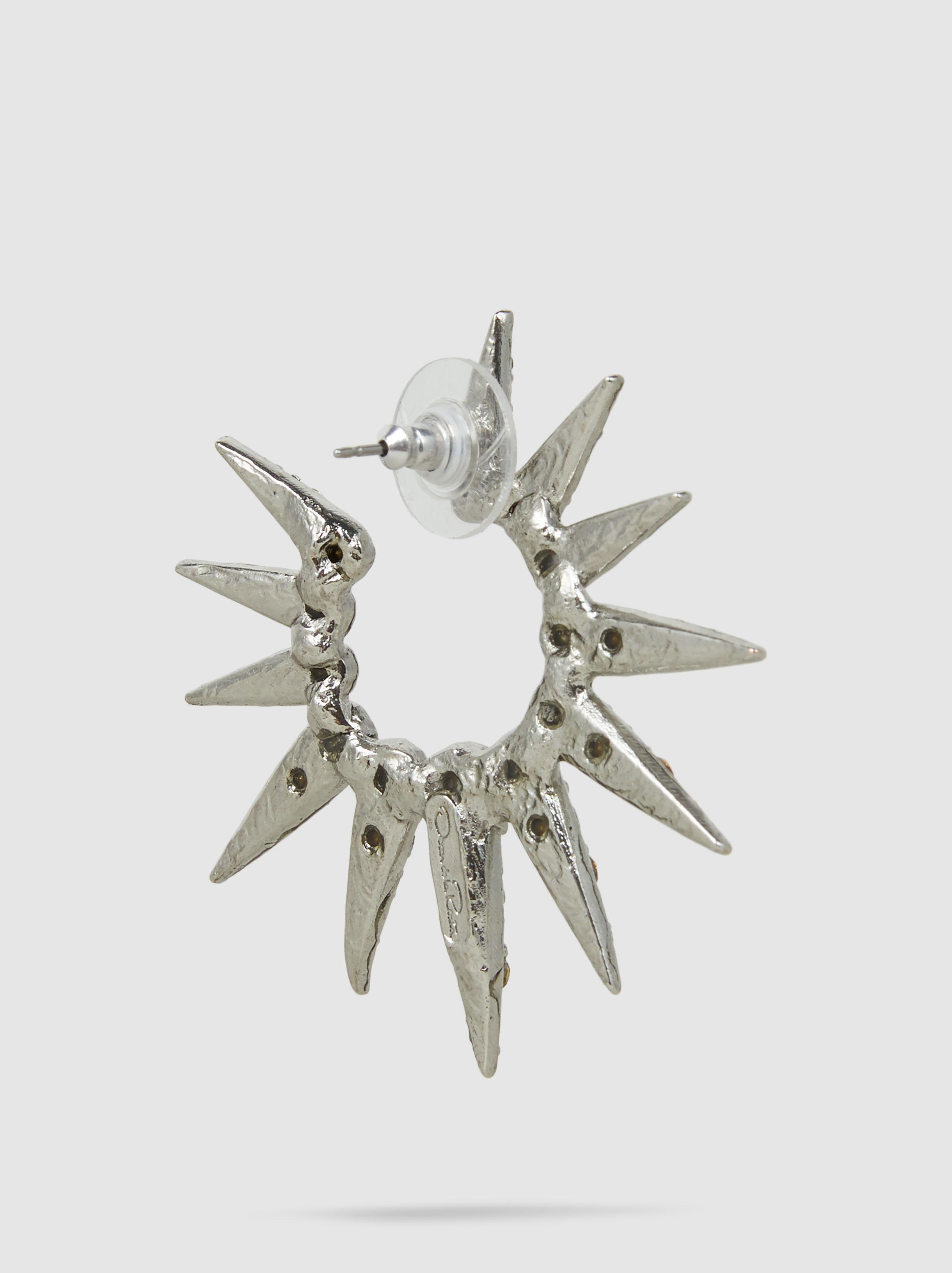 Sea Urchin Silver-Tone Crystal Earrings Oscar De La Renta Qn7GOjmh11