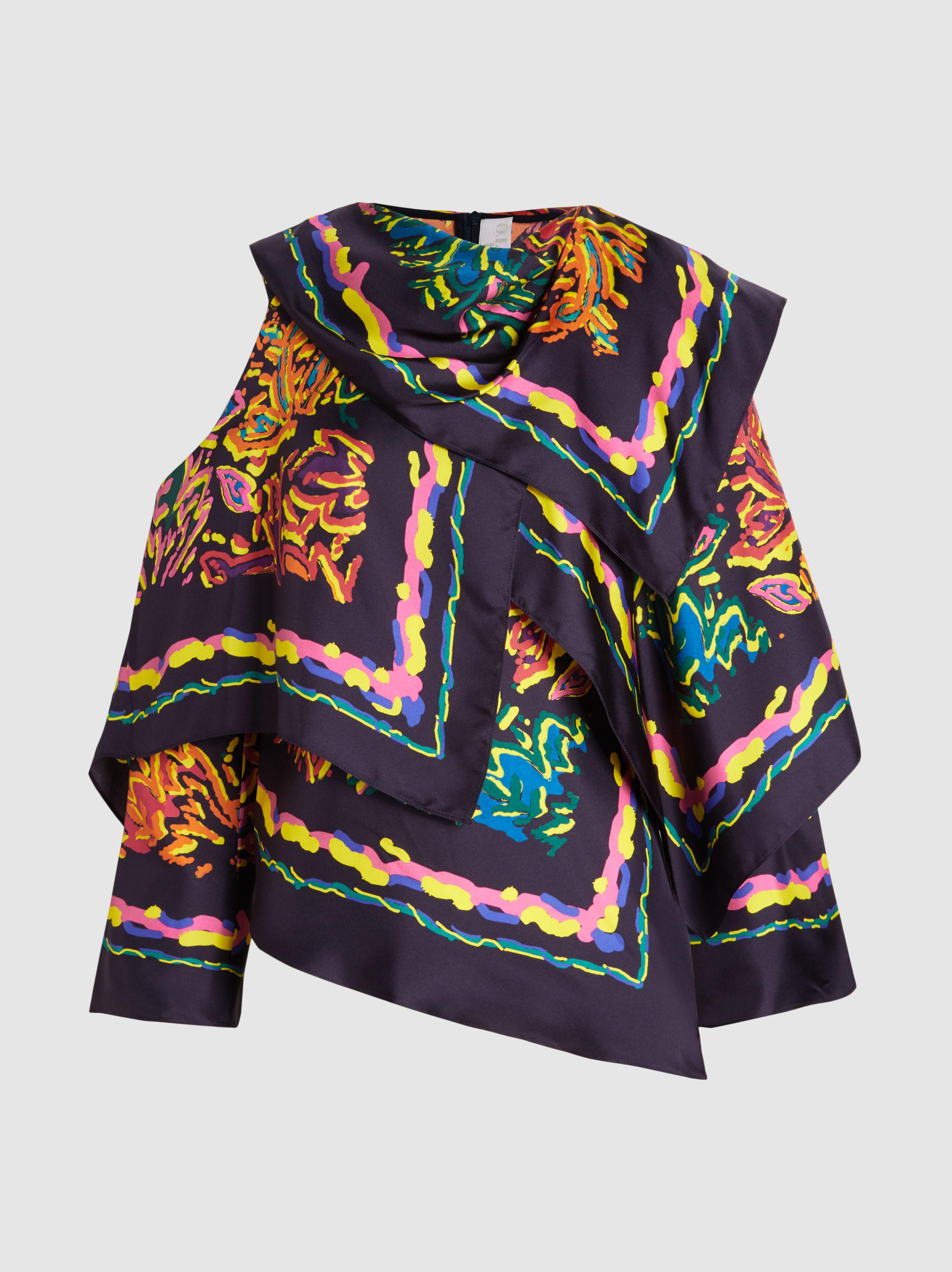 Peter Pilotto Woman Draped Printed Silk-twill Blouse Navy Size 8 Peter Pilotto Low Shipping Fee Cheap Online iUipdEr
