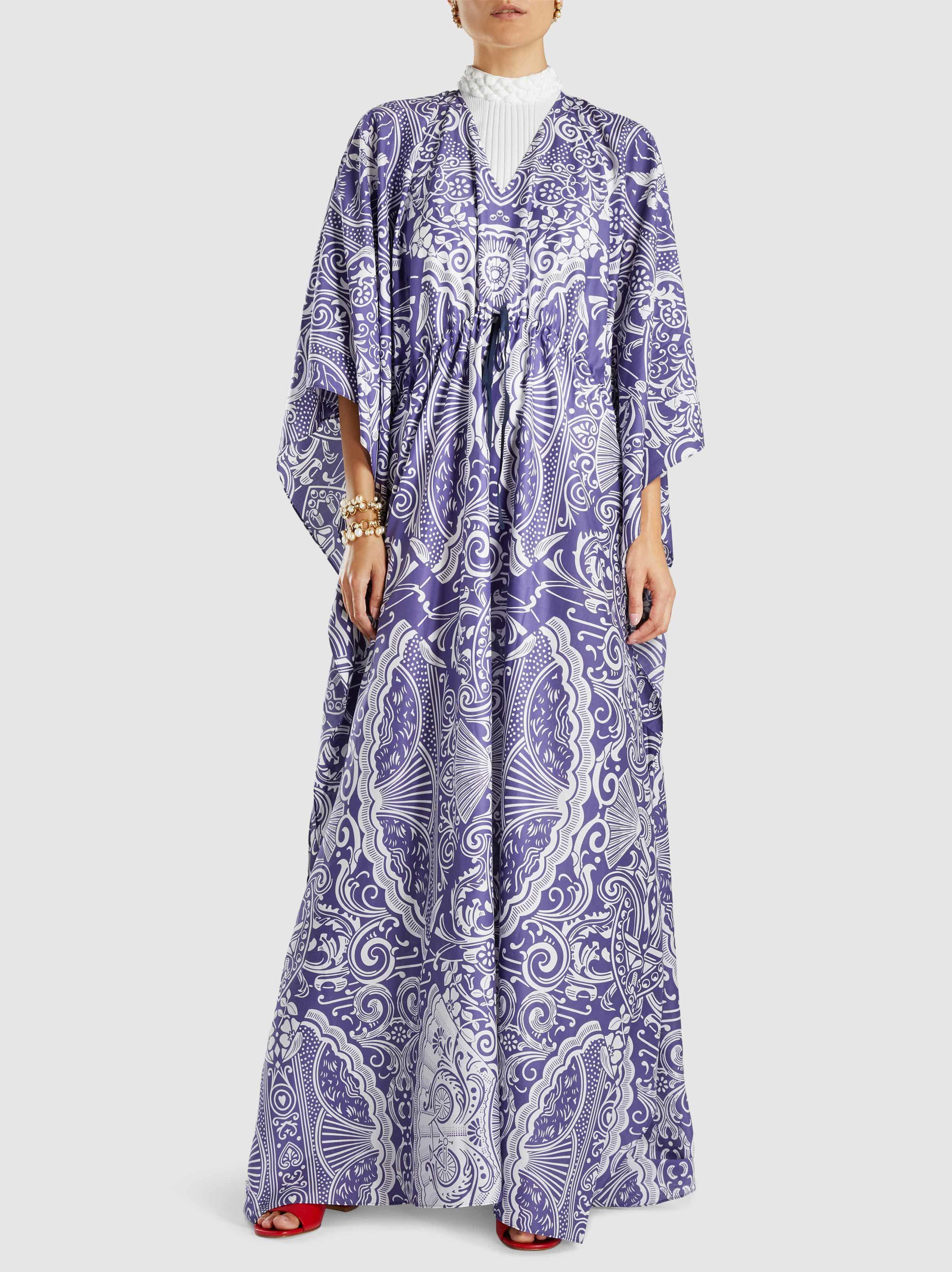 Buy Cheap Shop For Printed Cotton-Blend Kaftan Gown Mary Katrantzou Clearance Geniue Stockist Genuine Il0felMQ8g