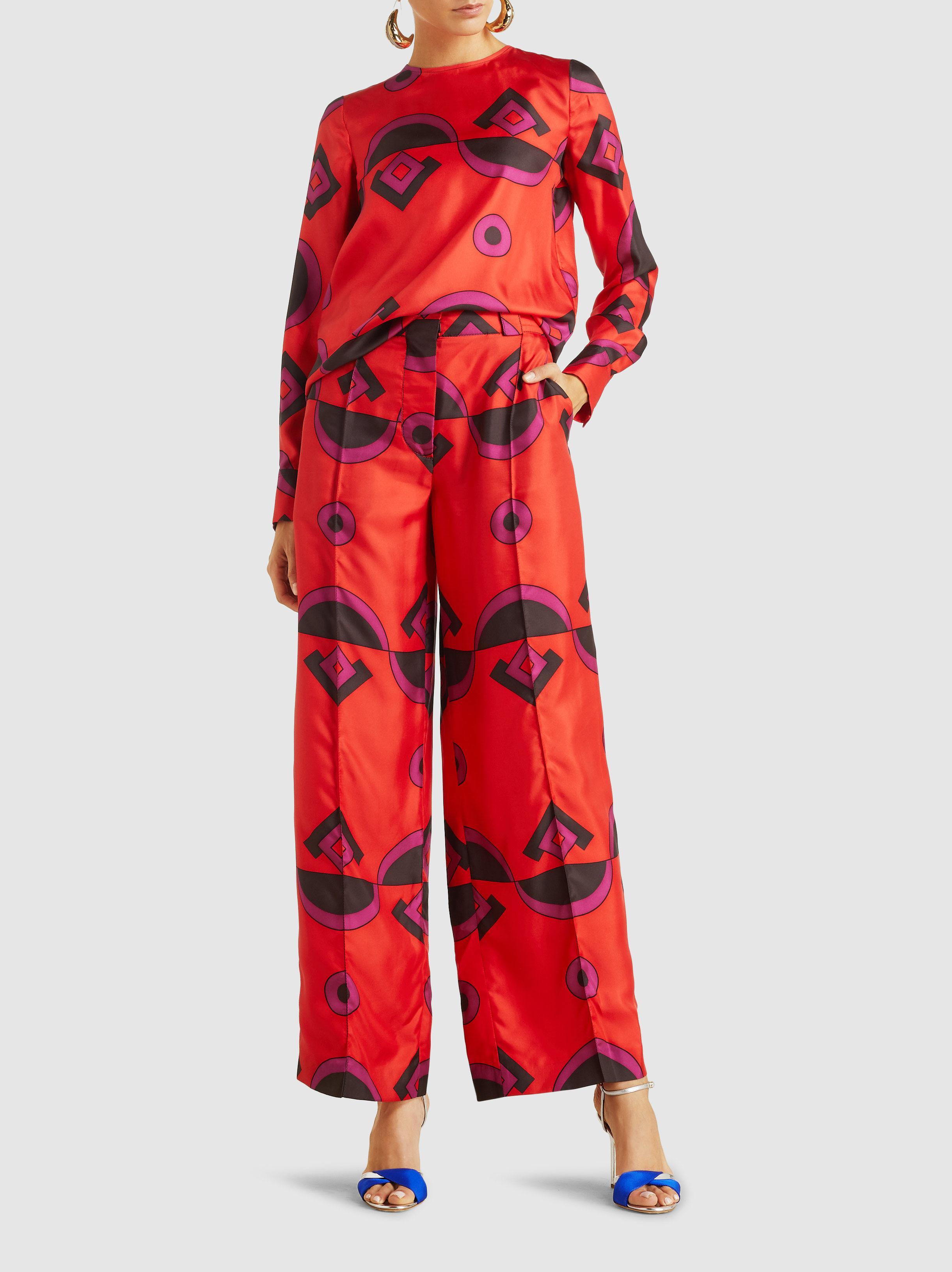 61c237f5ba Marni - Red Geometric Print Silk Blouse - Lyst. View fullscreen