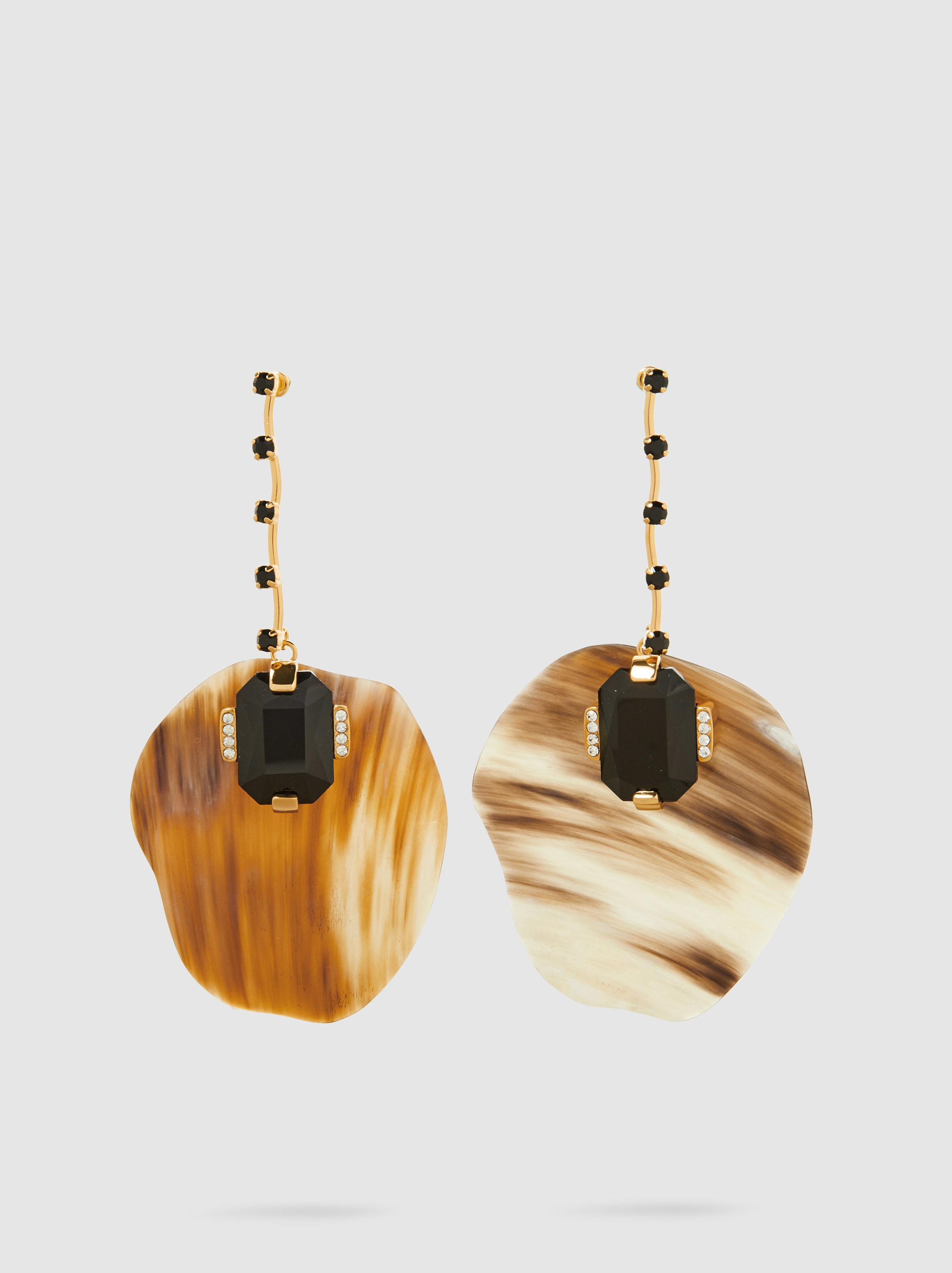 Earrings with Cabochon in Black Leather, Horn and Metal Marni