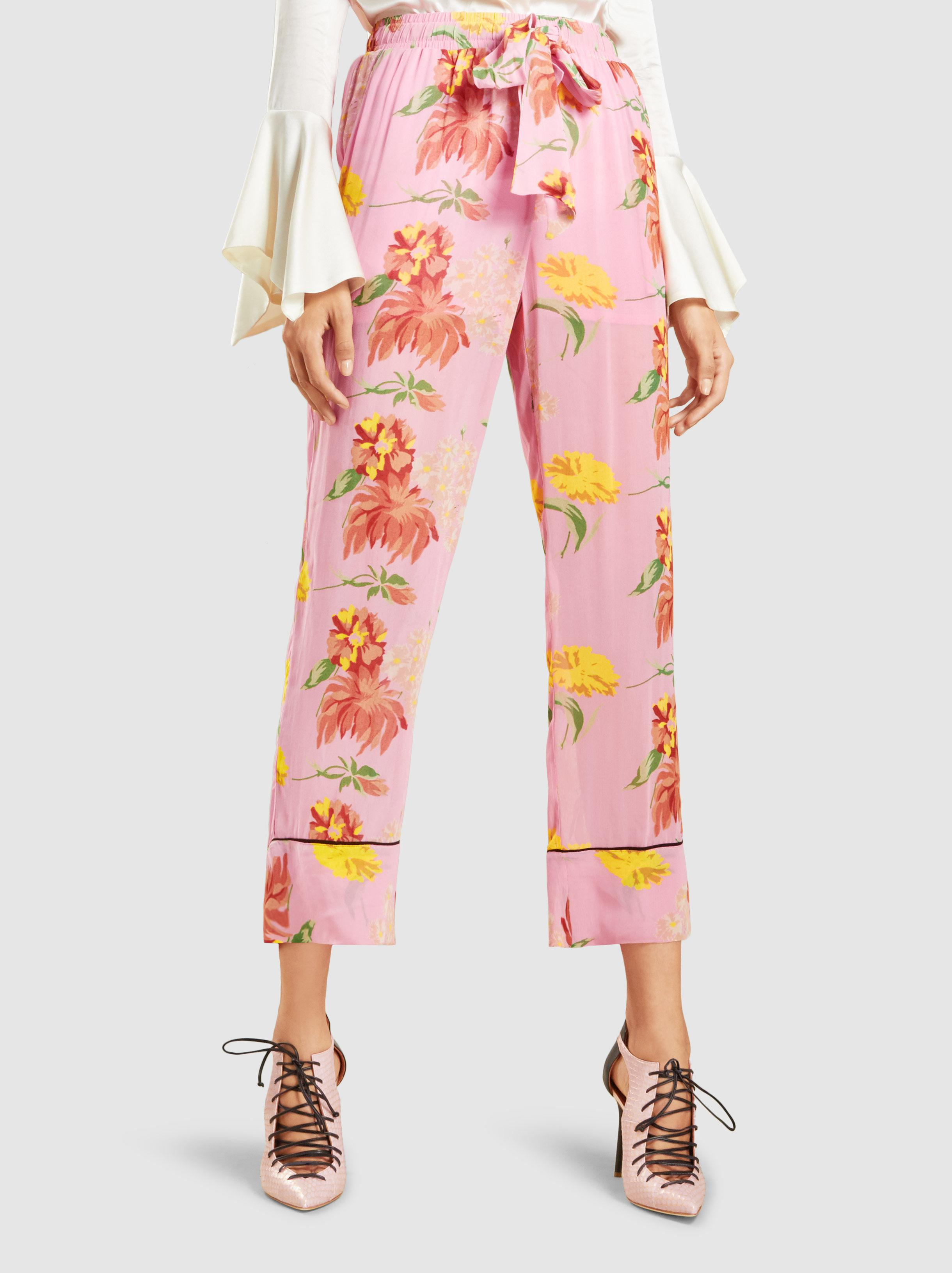 225d91bc1ebf Ganni Marceau Floral-print Georgette Trousers in Pink - Lyst