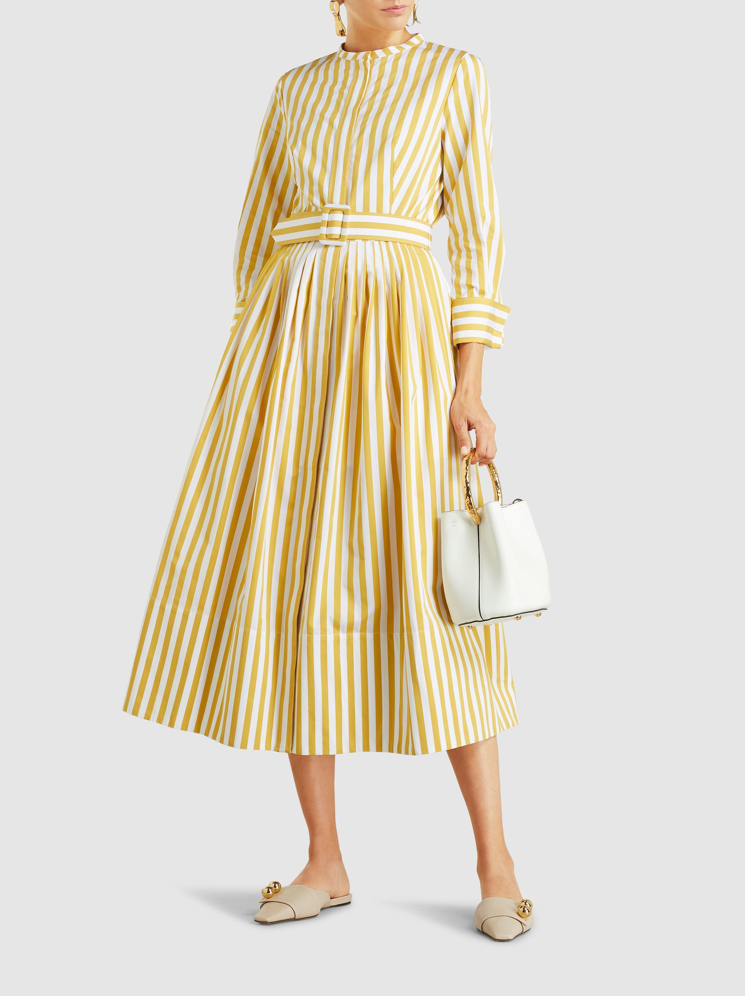 Oscar de la Renta - Yellow Striped Cotton Midi Dress - Lyst. View fullscreen 7c6190306