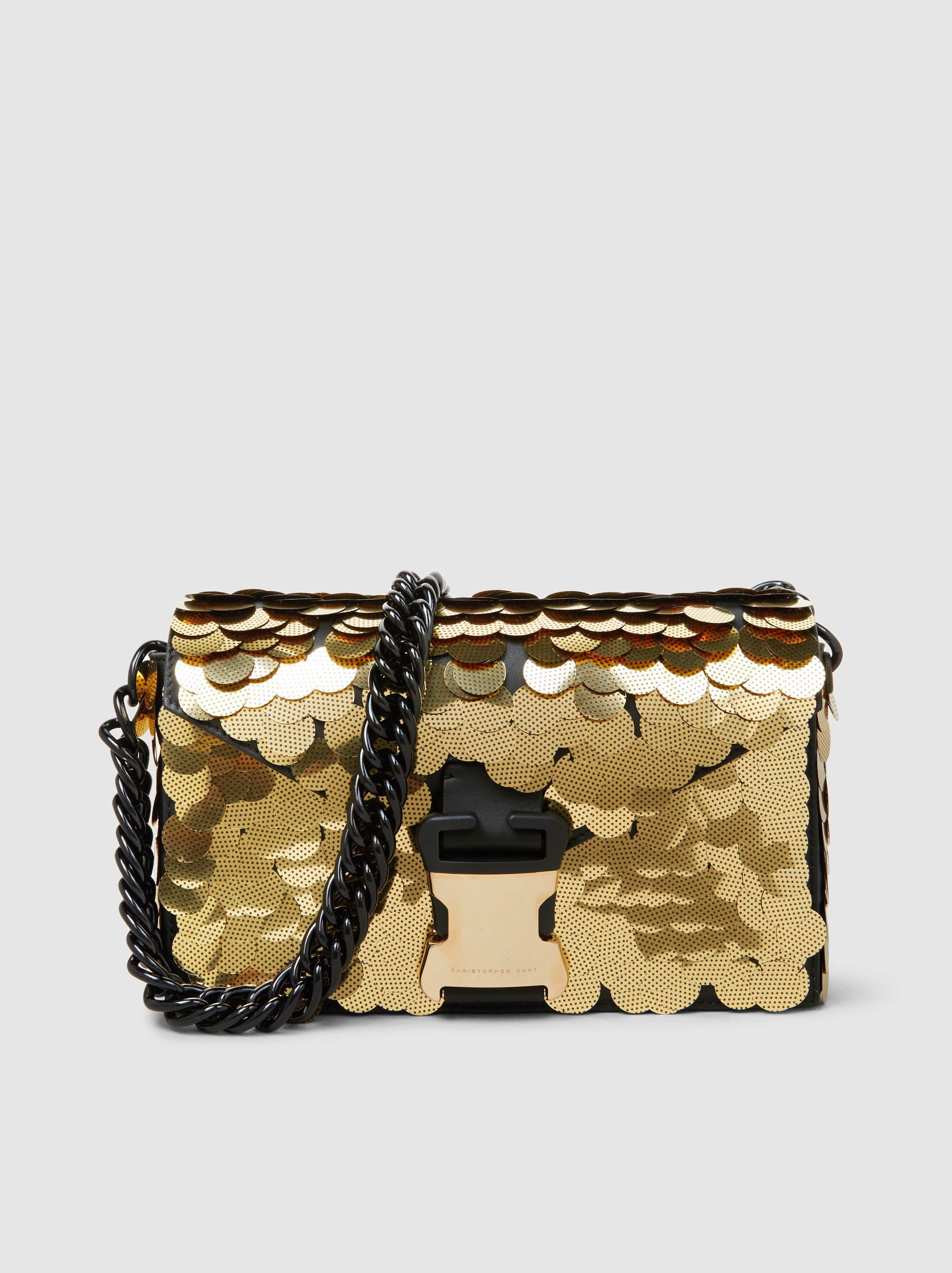 ac6811c3f3 Lyst - Christopher Kane Devine Sequinned Textured-leather Shoulder Bag