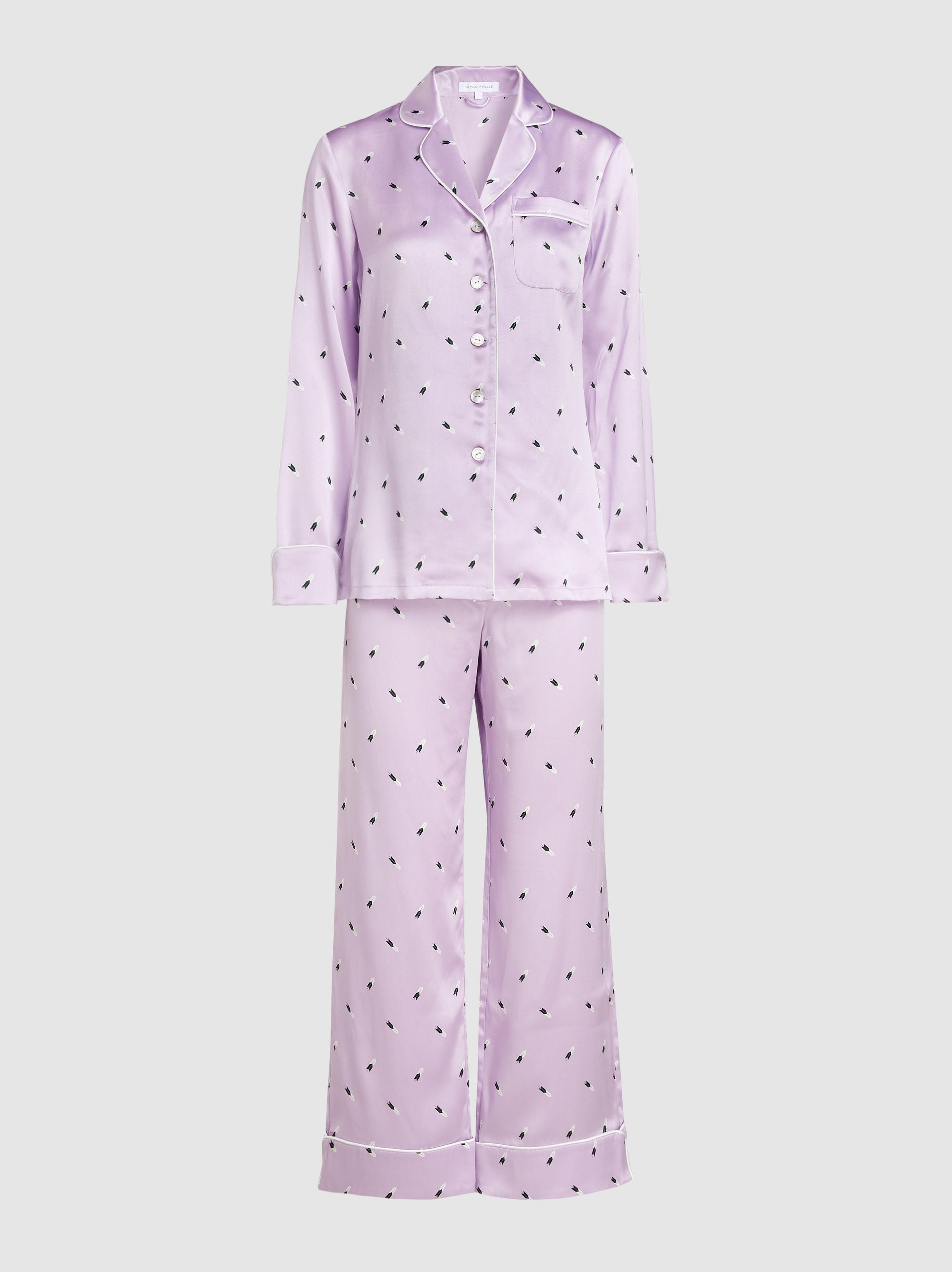 Olivia Von Halle. Women s Purple Lila Akimoto Feather Print Silk Pyjama Set f4987b55e