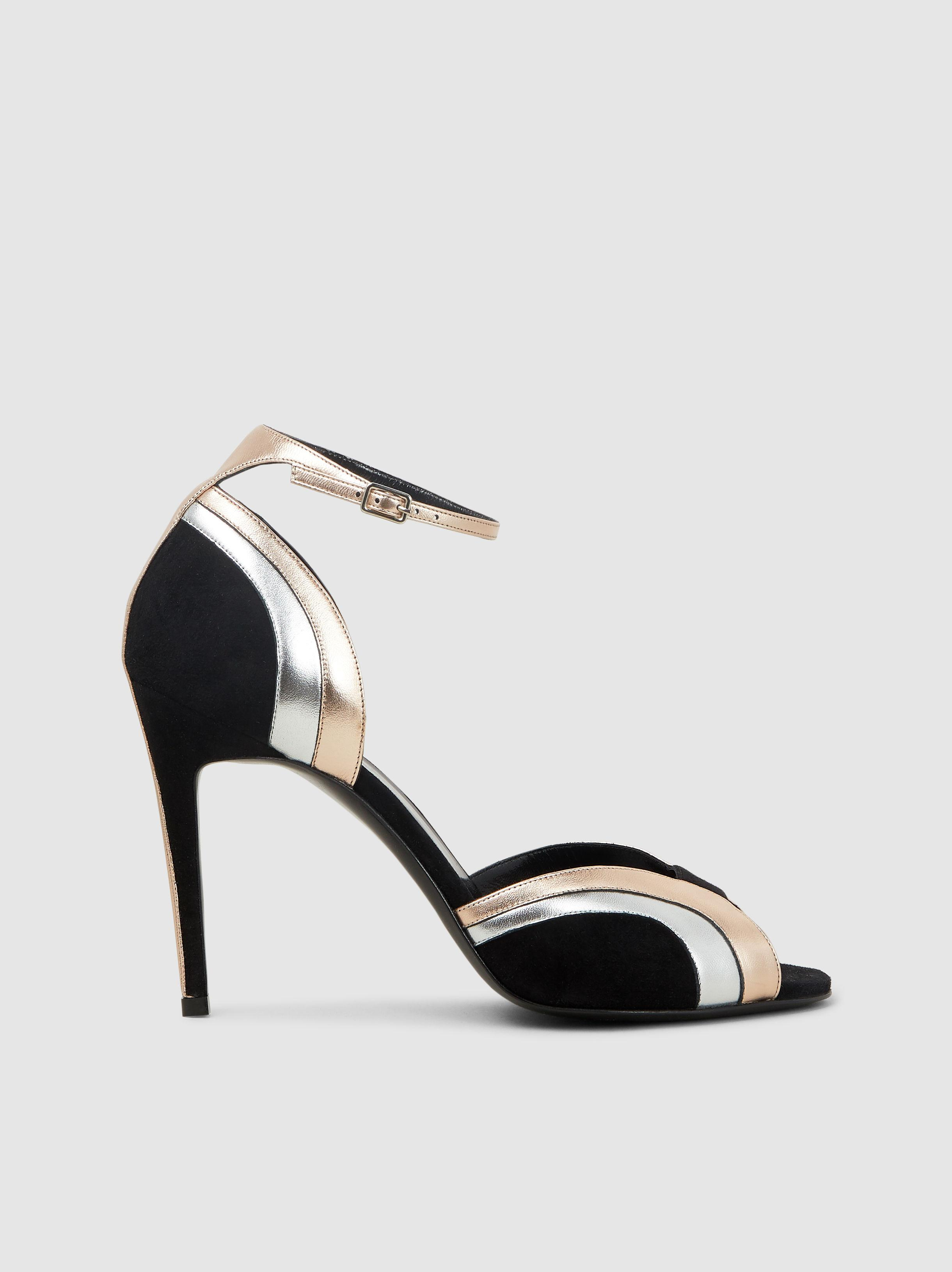 f96881a1325115 Pierre Hardy Rainbow Metallic Suede Sandals in Black - Lyst