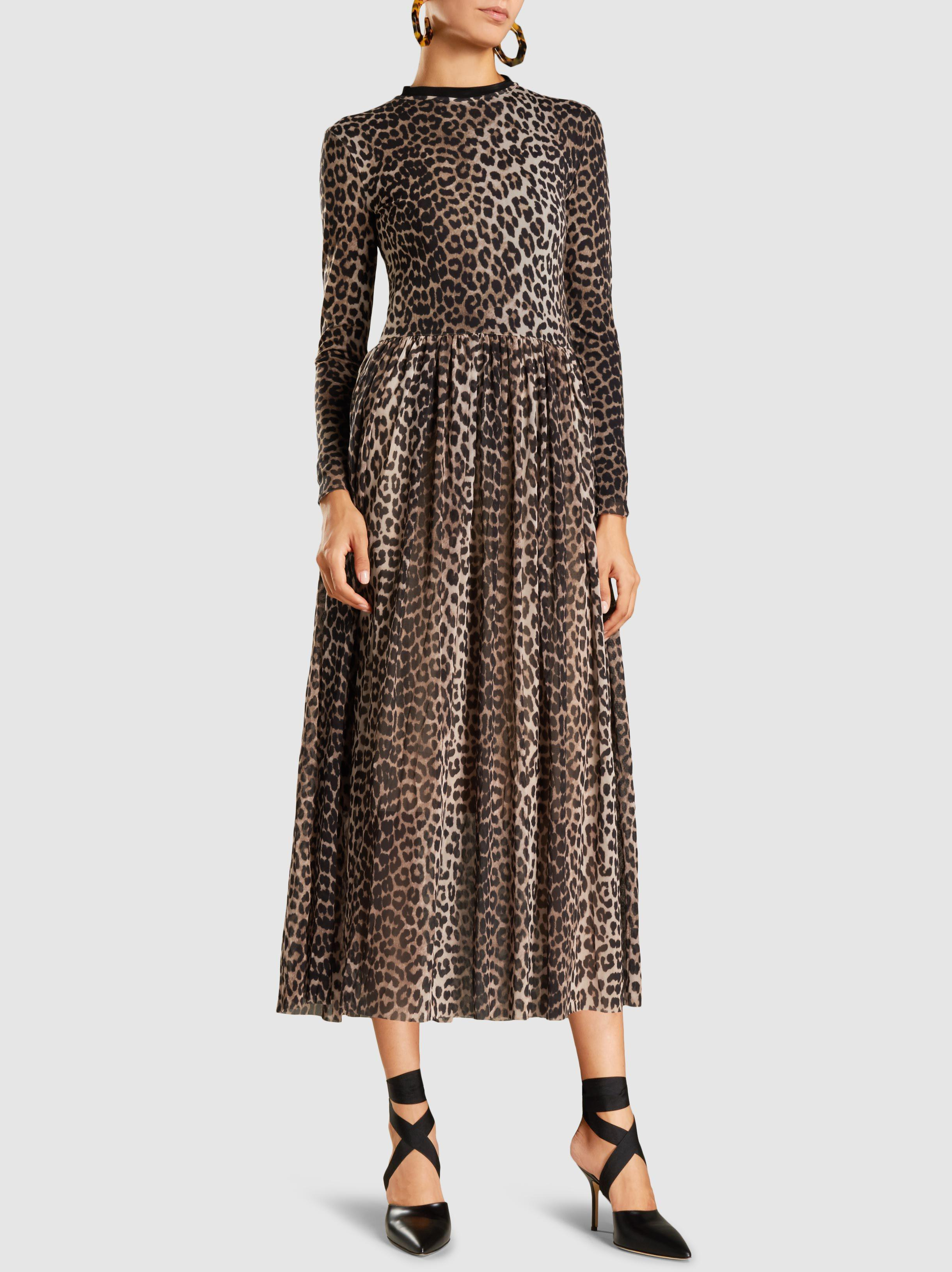 8a77ba6c Ganni Tilden Leopard-print Stretch-mesh Dress in Brown - Lyst