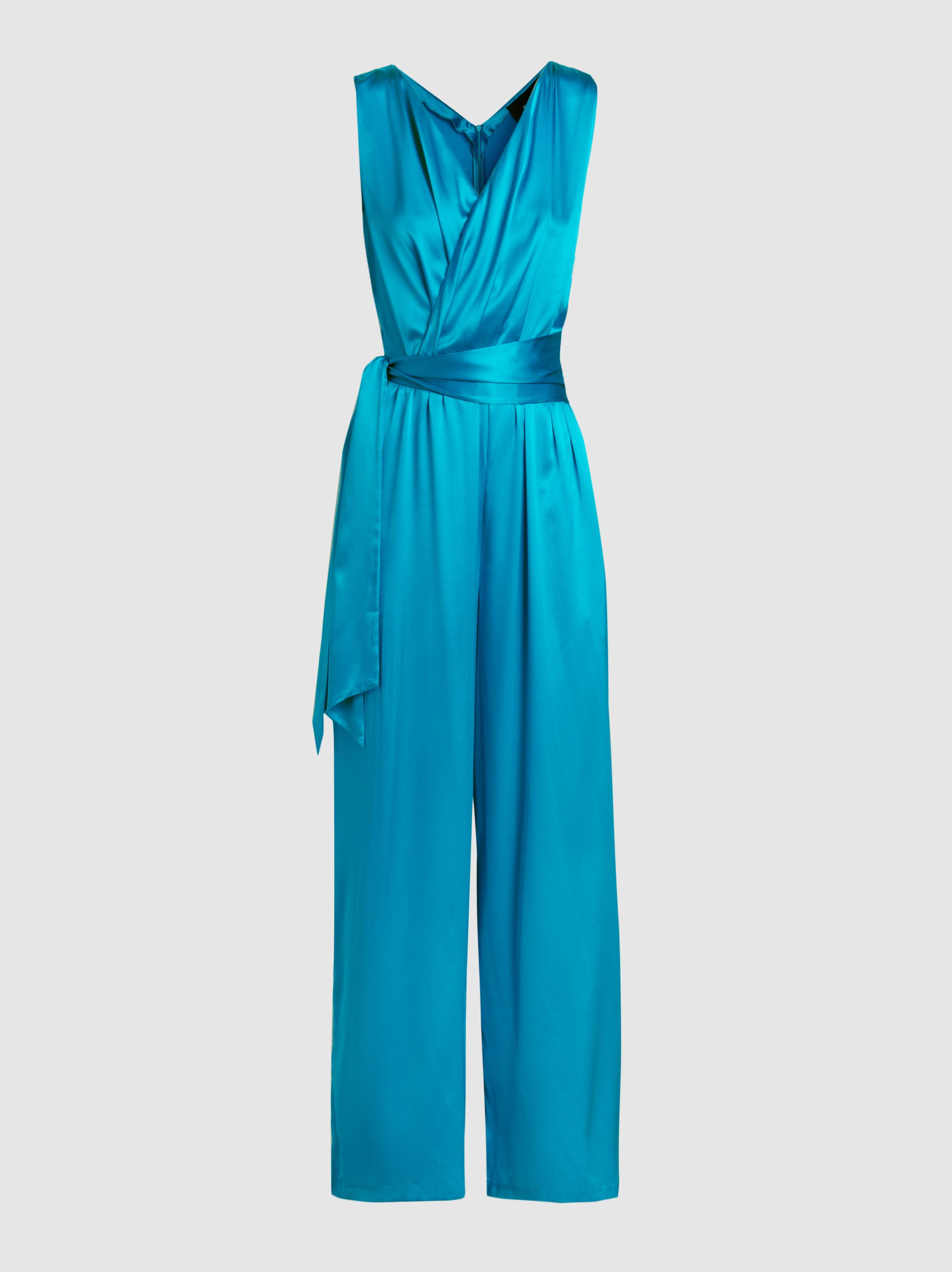 Ebay Discount Amazon Takana Silk-Blend Sleeveless Wrap Jumpsuit Paper London po6JIoDL