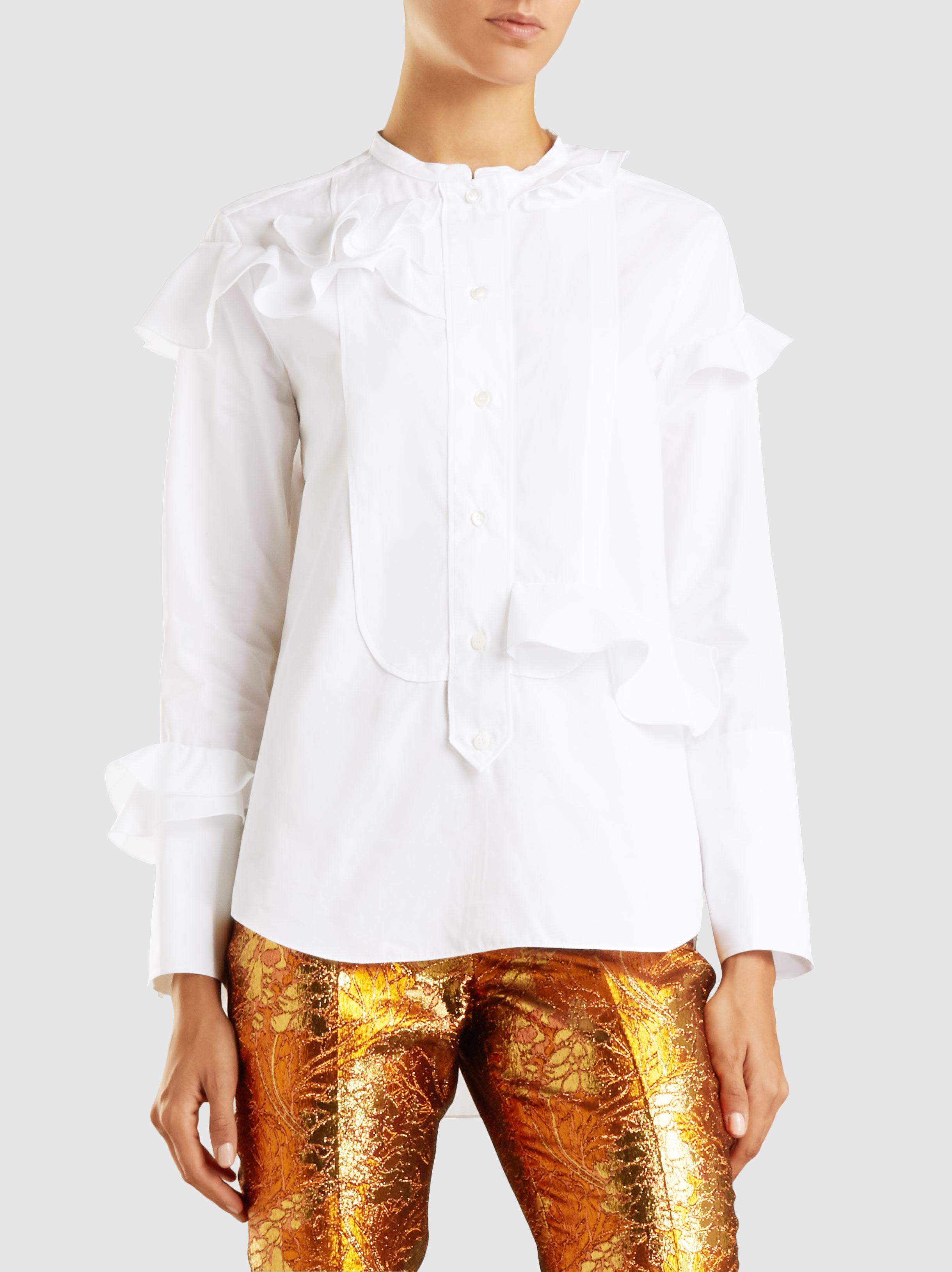 Ruffled Cotton-Poplin Shirt Maison Rabih Kayrouz Very Cheap Cheap Online JmUA6