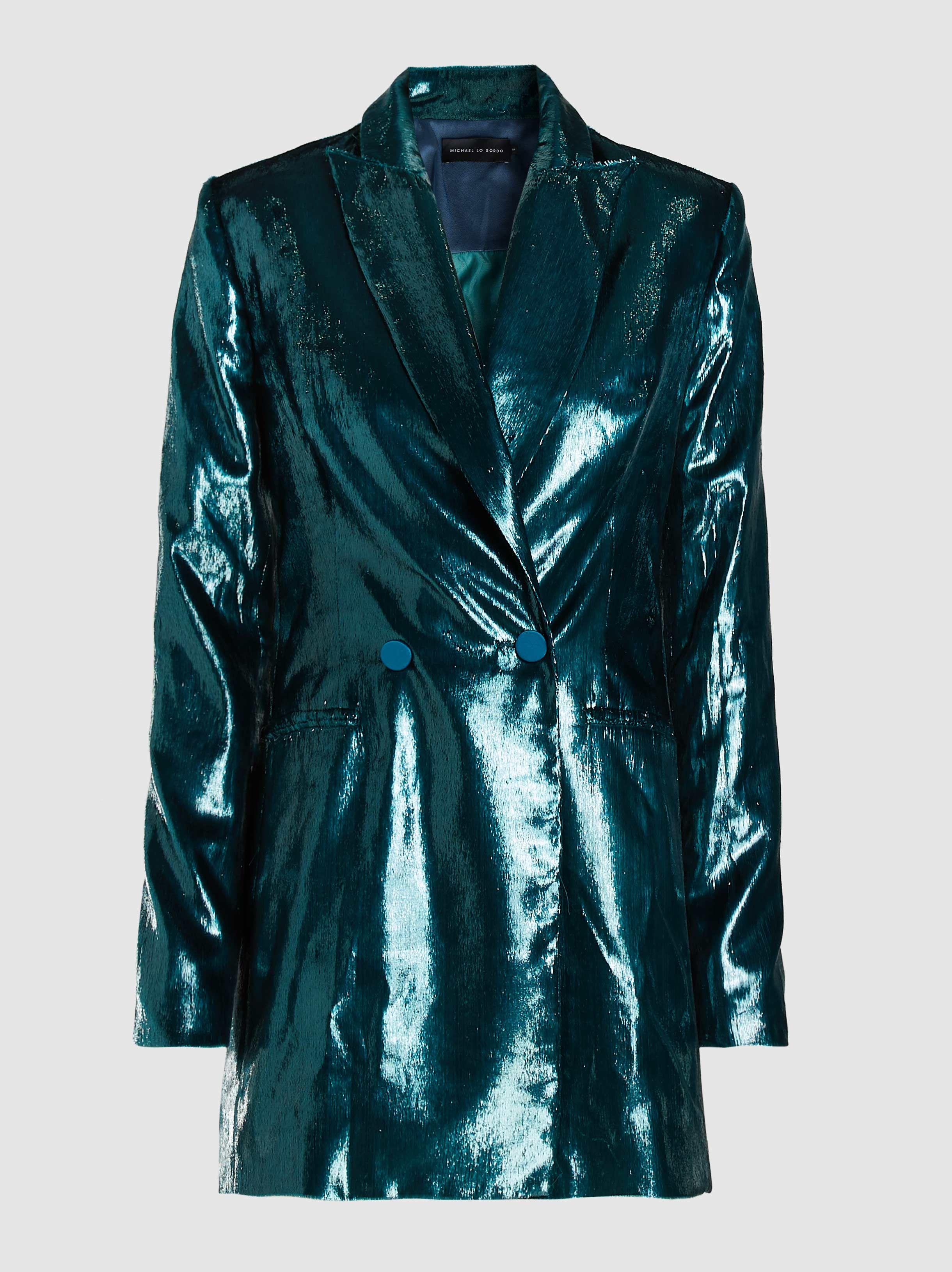 6325f690f1e Michael Lo Sordo Glitter Long Sleeve Velvet Blazer in Green - Lyst