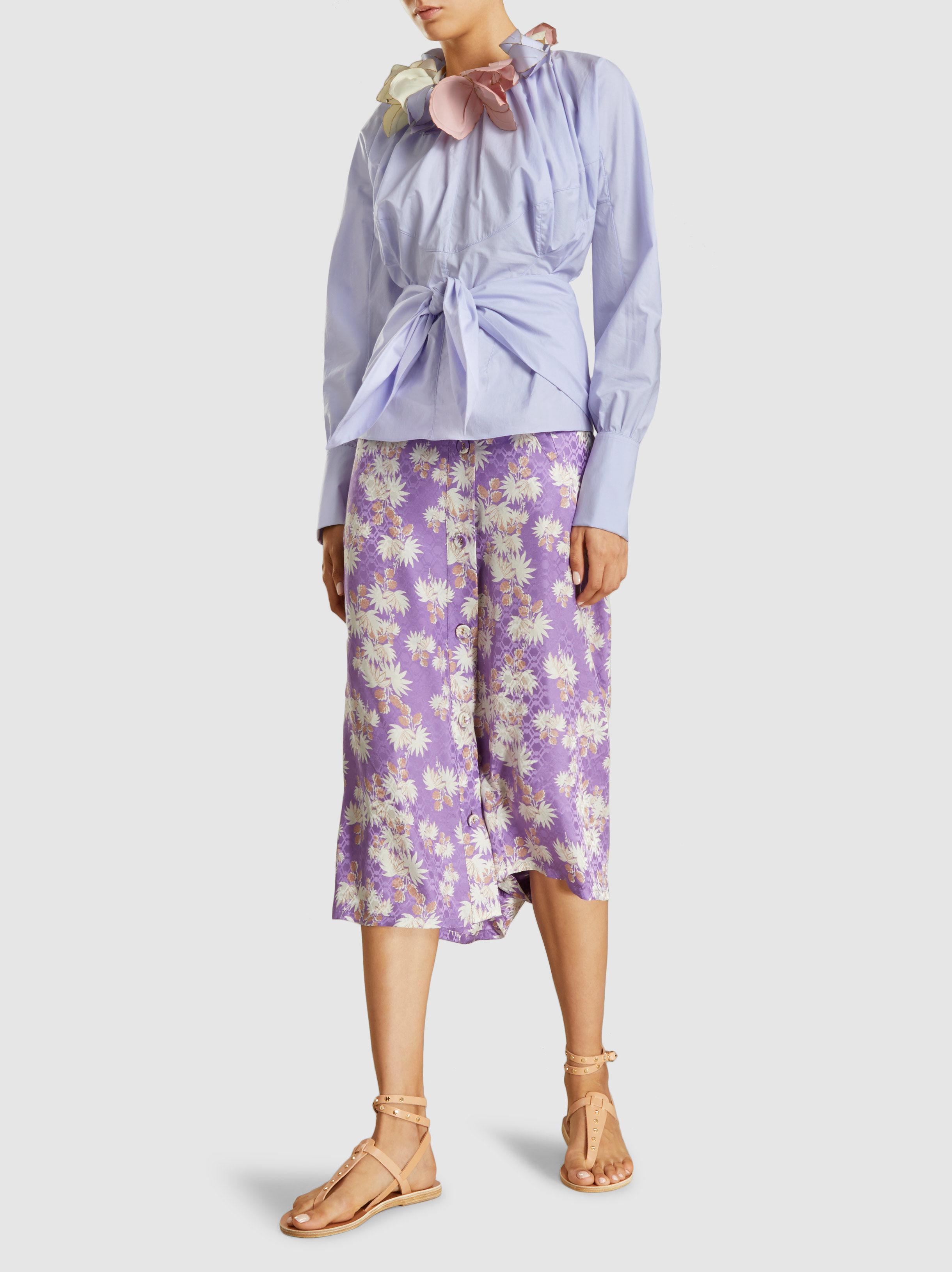 Outlet Sale Online Clearance Deals Uvalde Floral-Print Silk-Jacquard Culottes Rachel Comey Genuine Sale Online T1xt19A7V