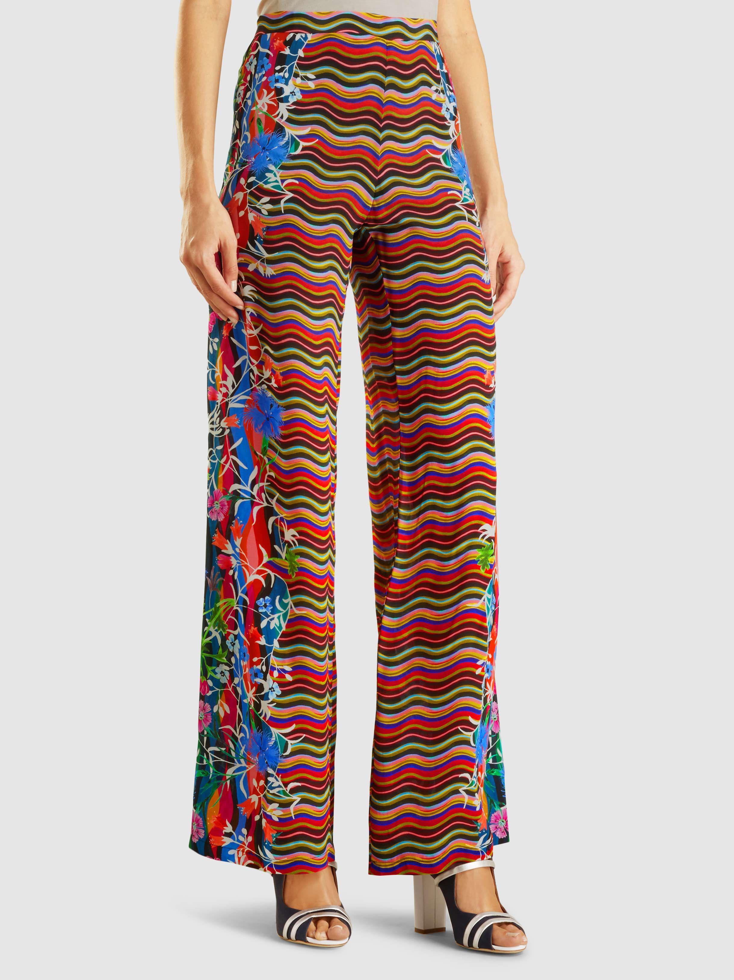 Soie Pantalon À Jambes Larges Imprimé Saloni CF4y8E