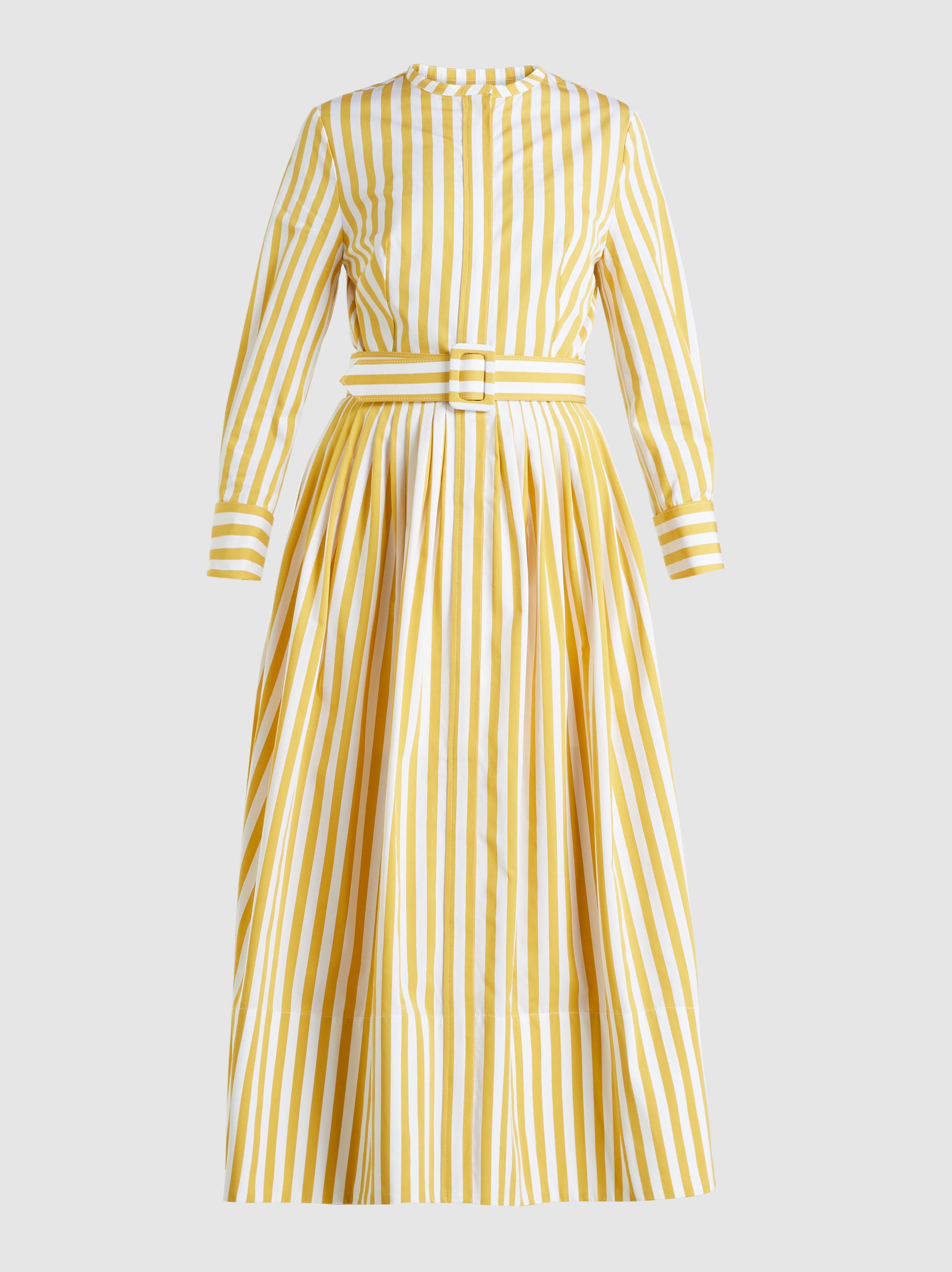 Lyst - Oscar de la Renta Striped Cotton Midi Dress in Yellow 56538c143