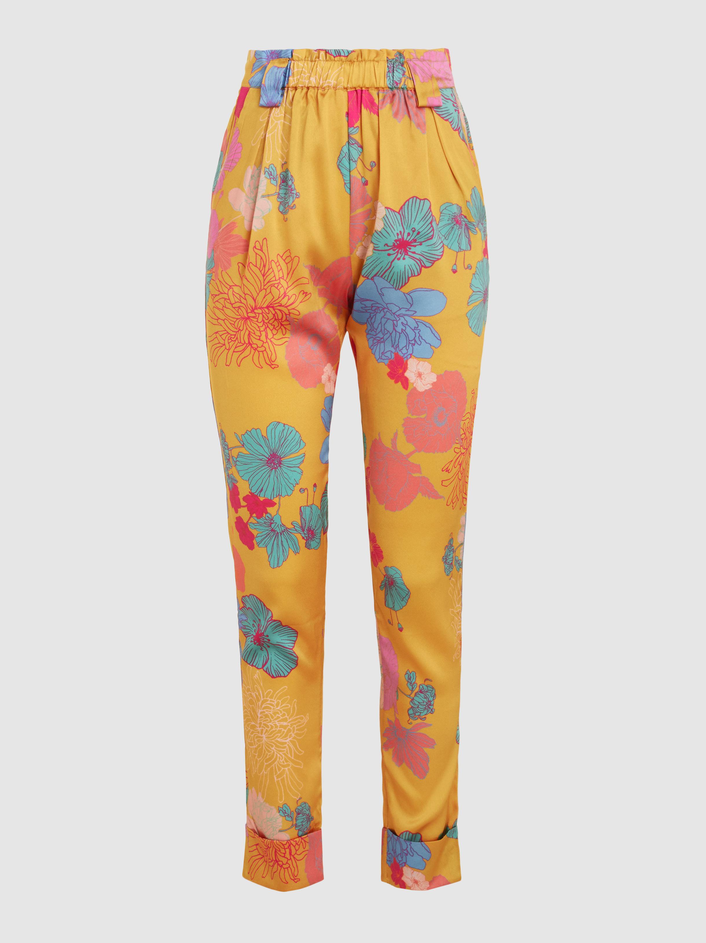 Rays Printed Stretch-Silk Trousers Stine Goya Ckx0F