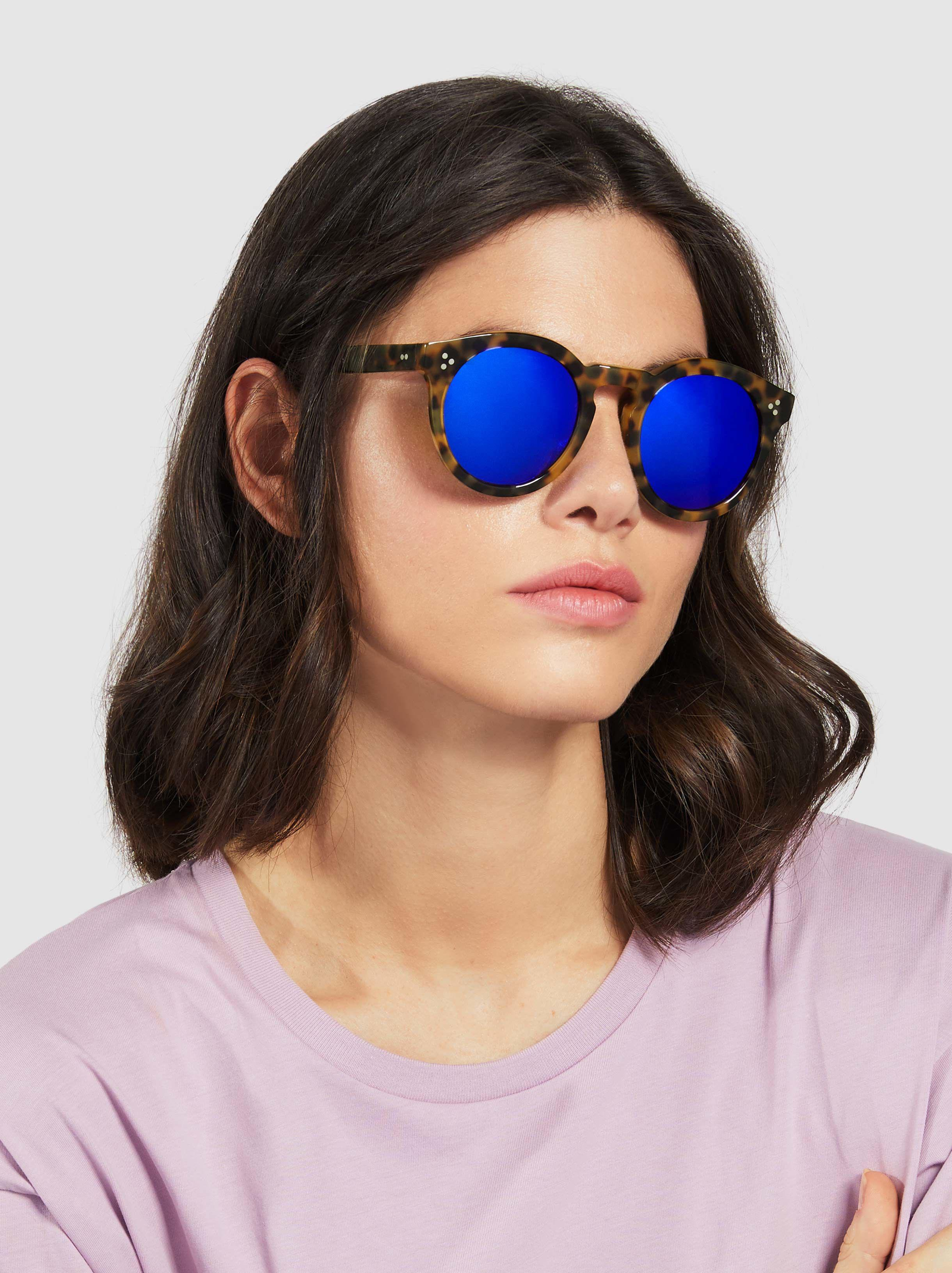 4a07a371888b Illesteva Leonard Ii Round Sunglasses in Blue - Lyst