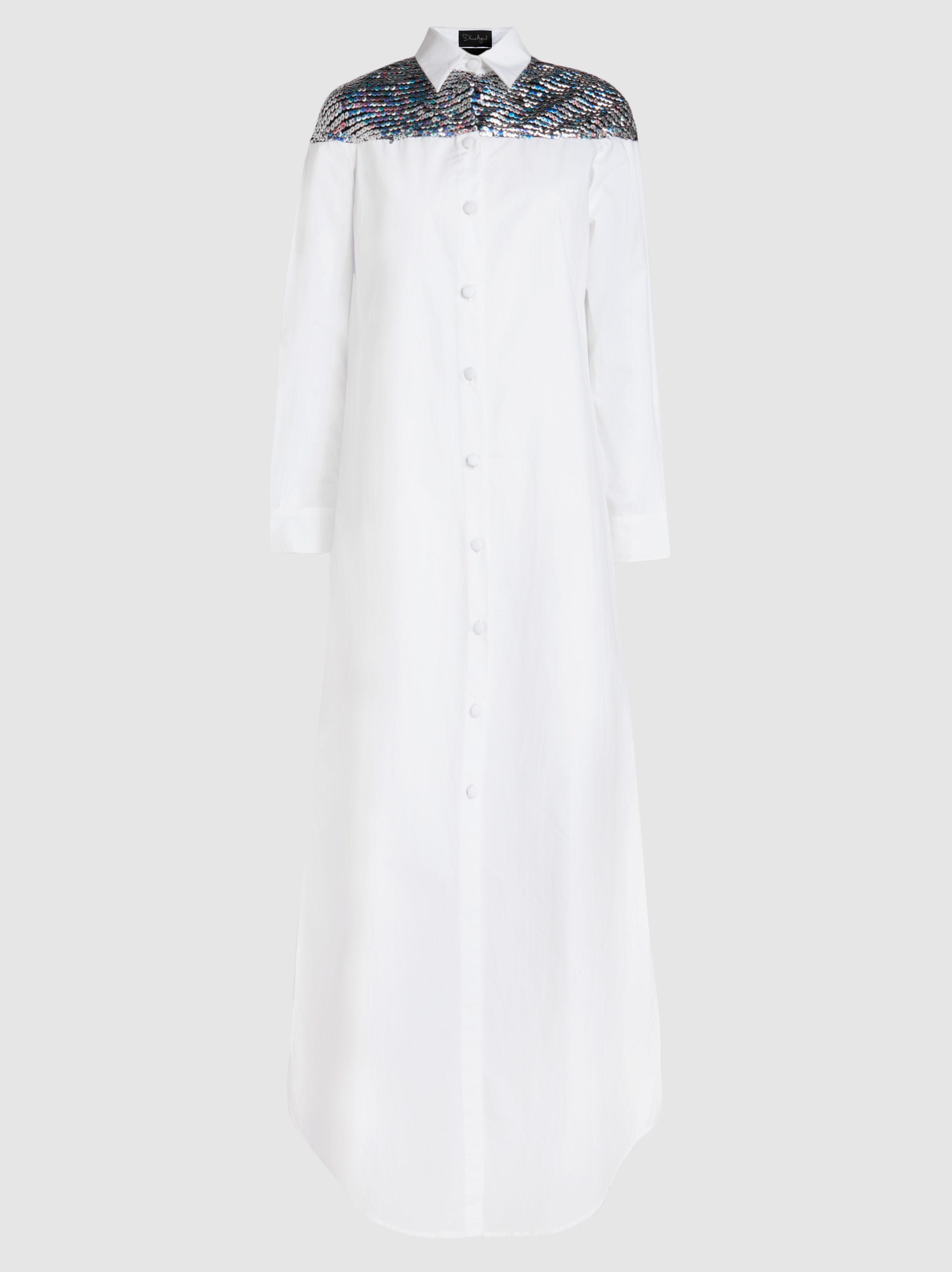 fad437346b6 Lyst - Dima Ayad Embellished Cotton Maxi Shirt Dress in White
