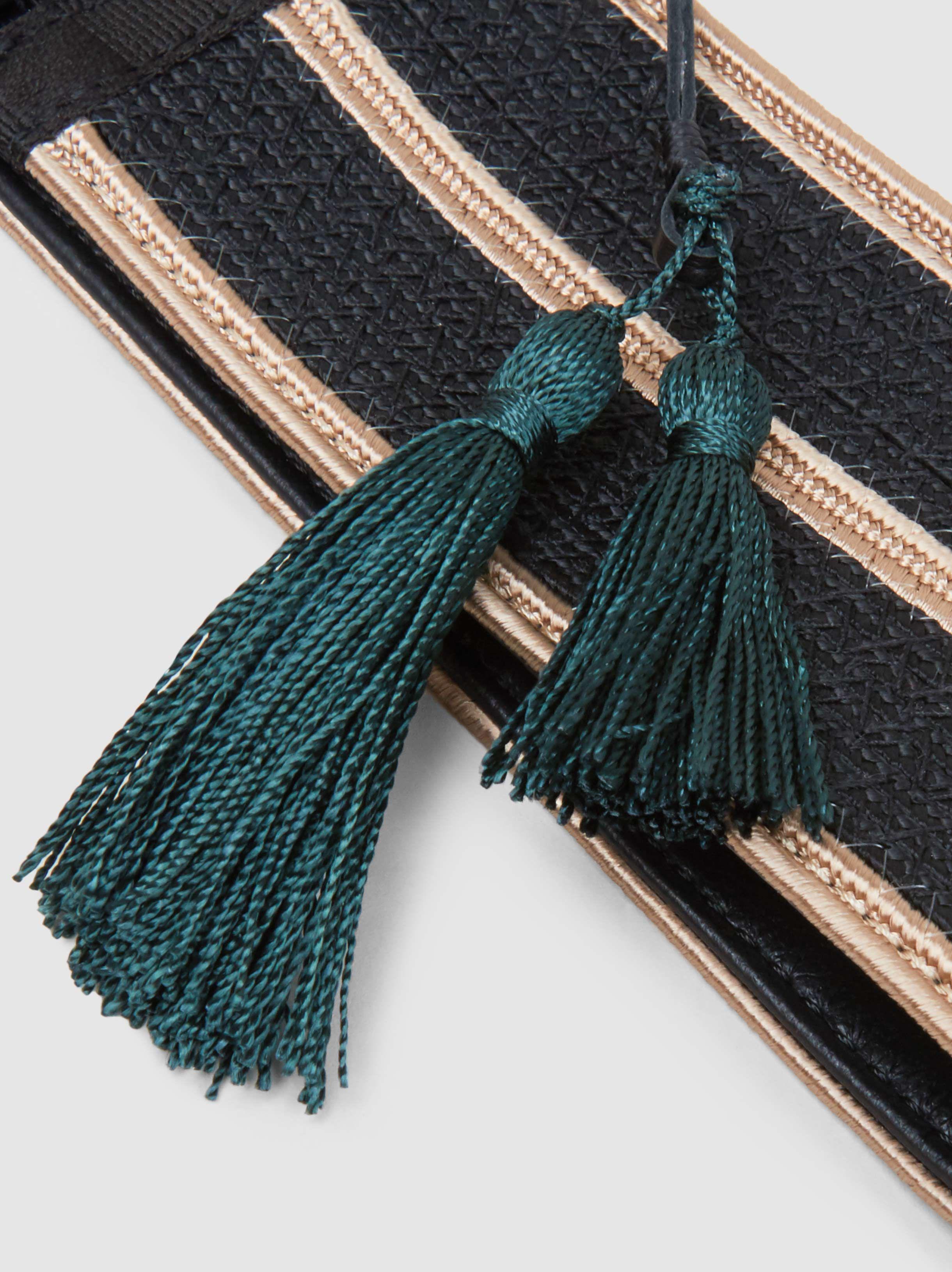 Evzones Striped Leather-Trimmed Woven Waist Belt Zeus + Dione CXUc8WU