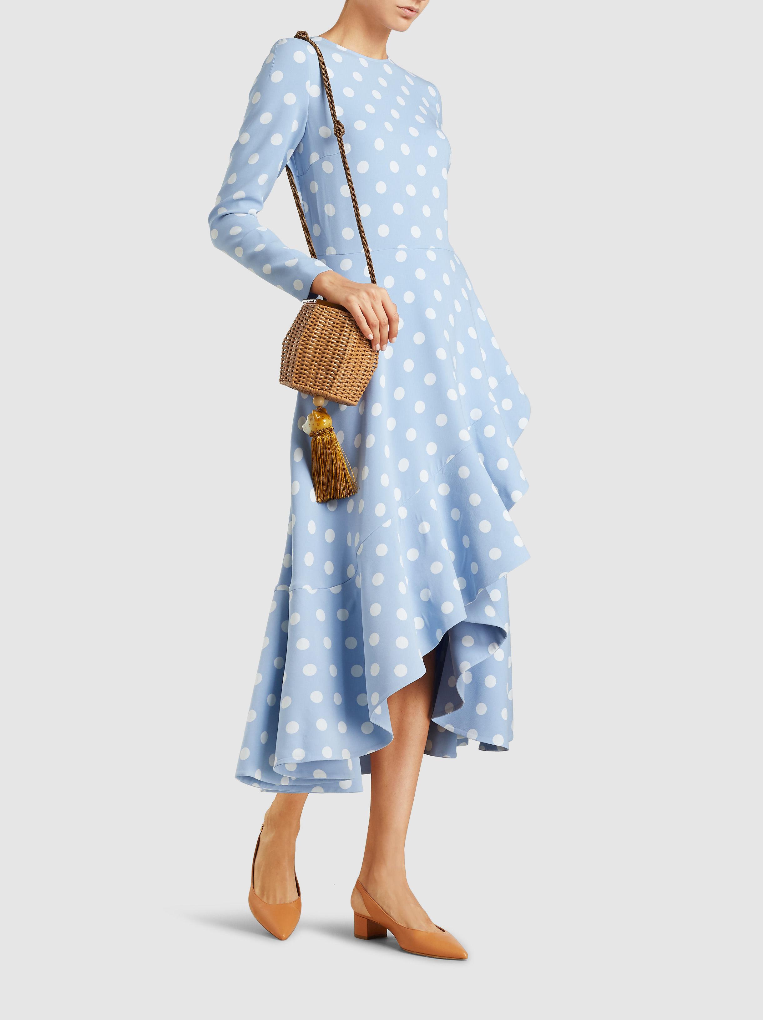 88bafd0e3ef157 Oscar de la Renta - Blue Polka Dot Dress - Lyst. View fullscreen