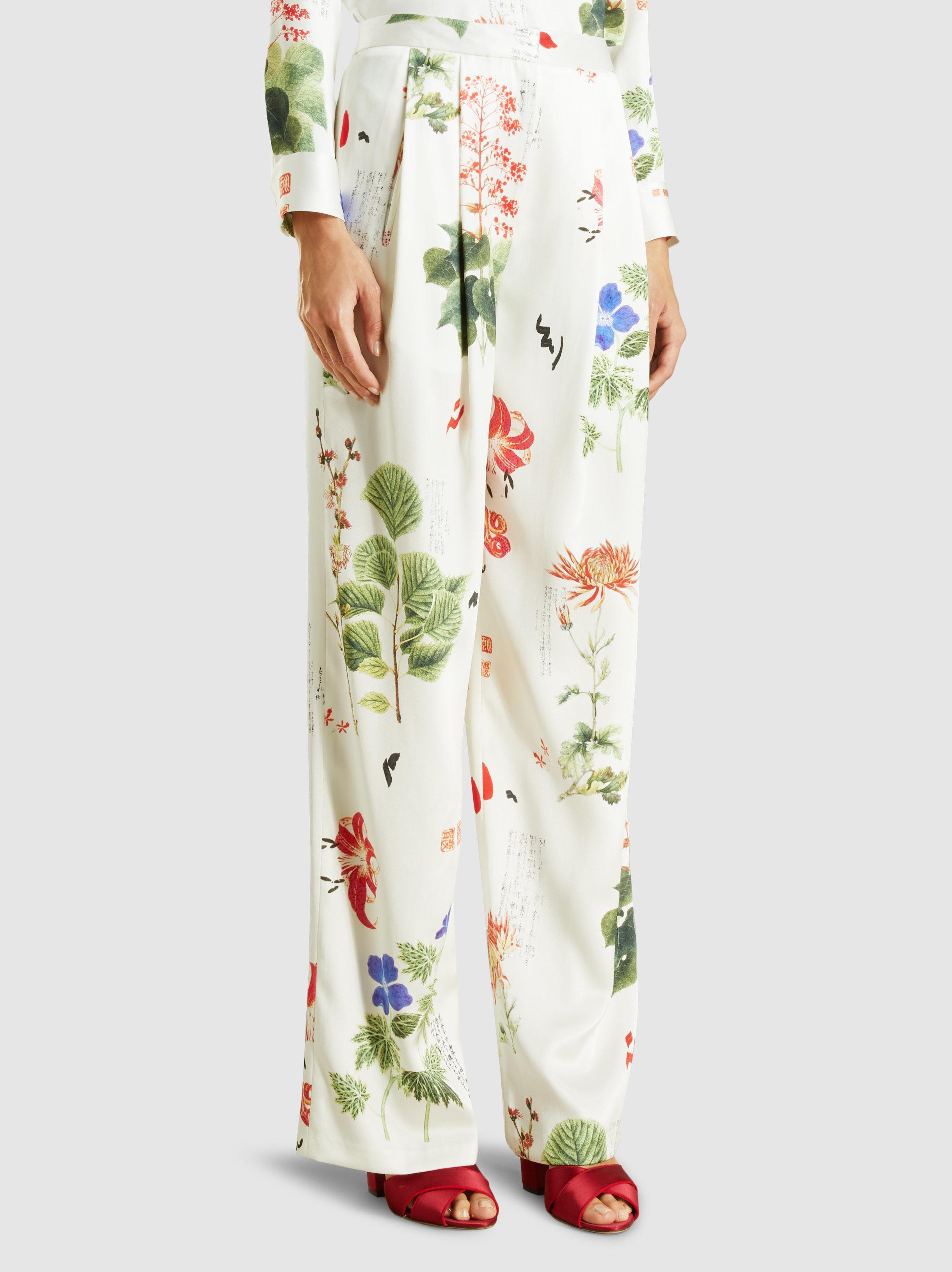Printed Charmeuse Silk Floral Trousers Adam Lippes GNUUu