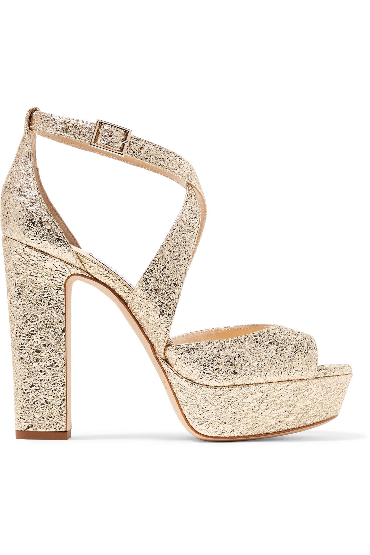 c1dd9b006a97 Jimmy Choo. Women s Woman April 120 Metallic Cracked-leather Platform  Sandals Platinum