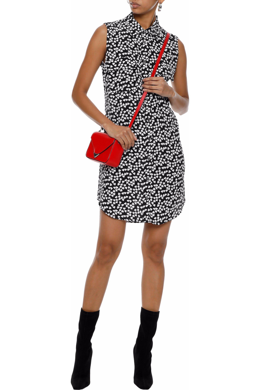 0f5ad3eafe609 Equipment - Woman Slim Signature Printed Washed-silk Mini Shirt Dress Black  - Lyst. View fullscreen