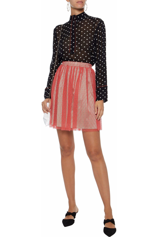 c3d2abdb73 RED Valentino - Pink Woman Pleated Point D'esprit Mini Skirt Coral - Lyst.  View fullscreen