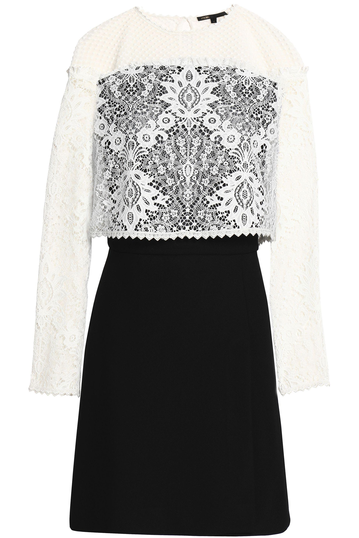 696dcf6b12 White Mini And Lyst Lace Maje View Fullscreen Layered Dress Crepe Woman  xtXUw0