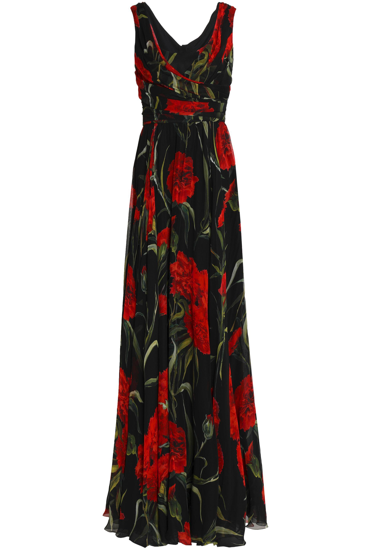 a702775715 Dolce   Gabbana Wrap-effect Floral-print Silk-chiffon Gown in Black ...