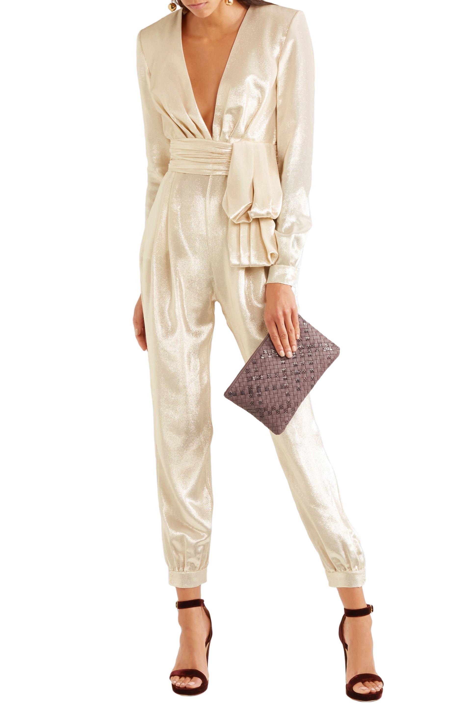 5333d4f771c Lyst - Zuhair Murad Tie-front Metallic Silk-blend Jumpsuit in Natural