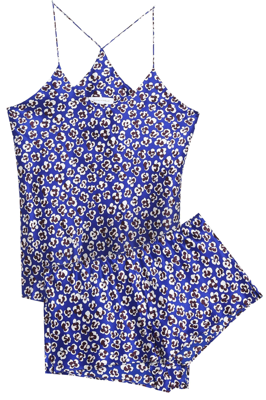 Olivia Von Halle - Bella Floral-print Silk-satin Pajama Set Royal Blue -.  View fullscreen 7e79fa0fa