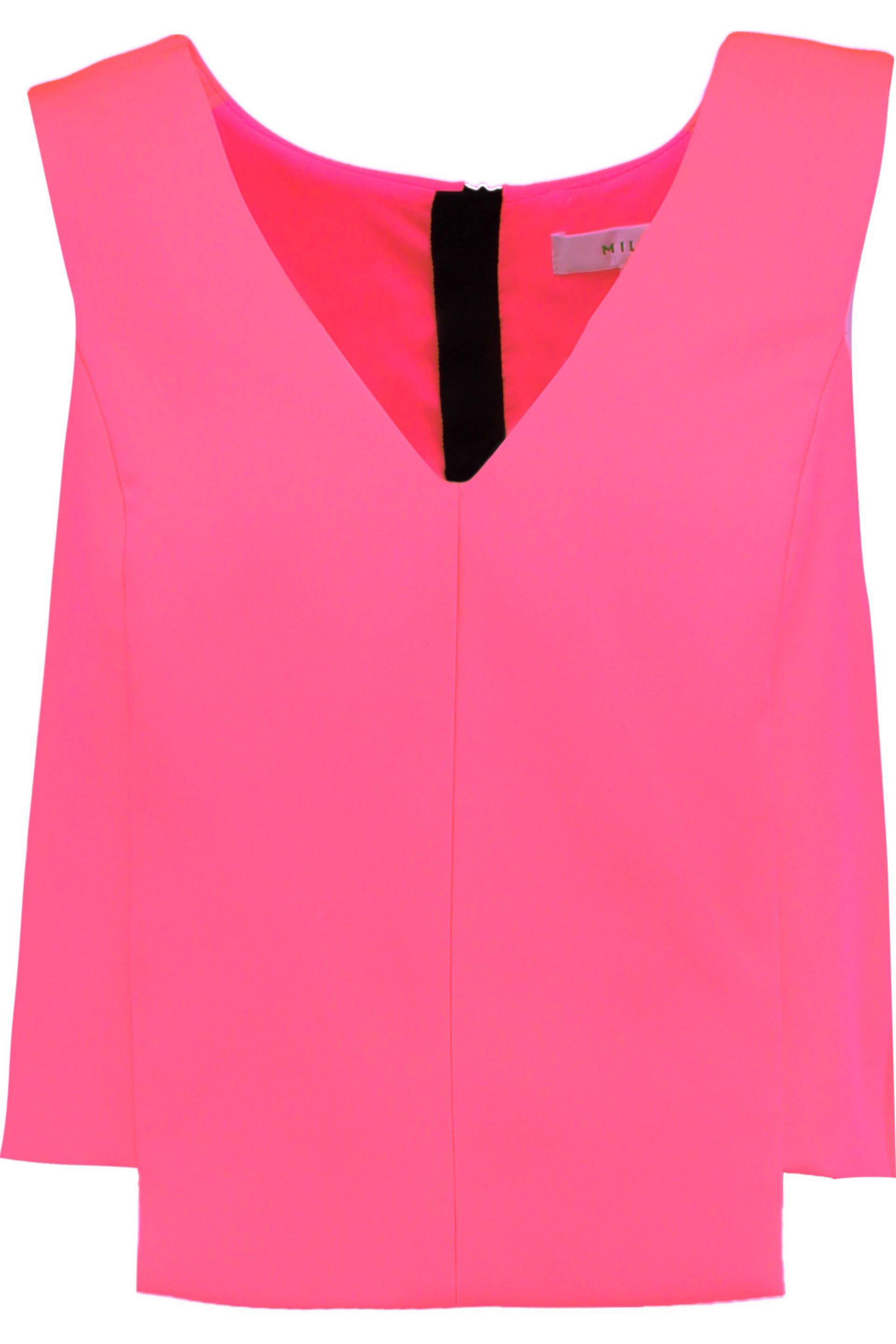 MILLY. Women's Pink Cropped Stretch-cady Top