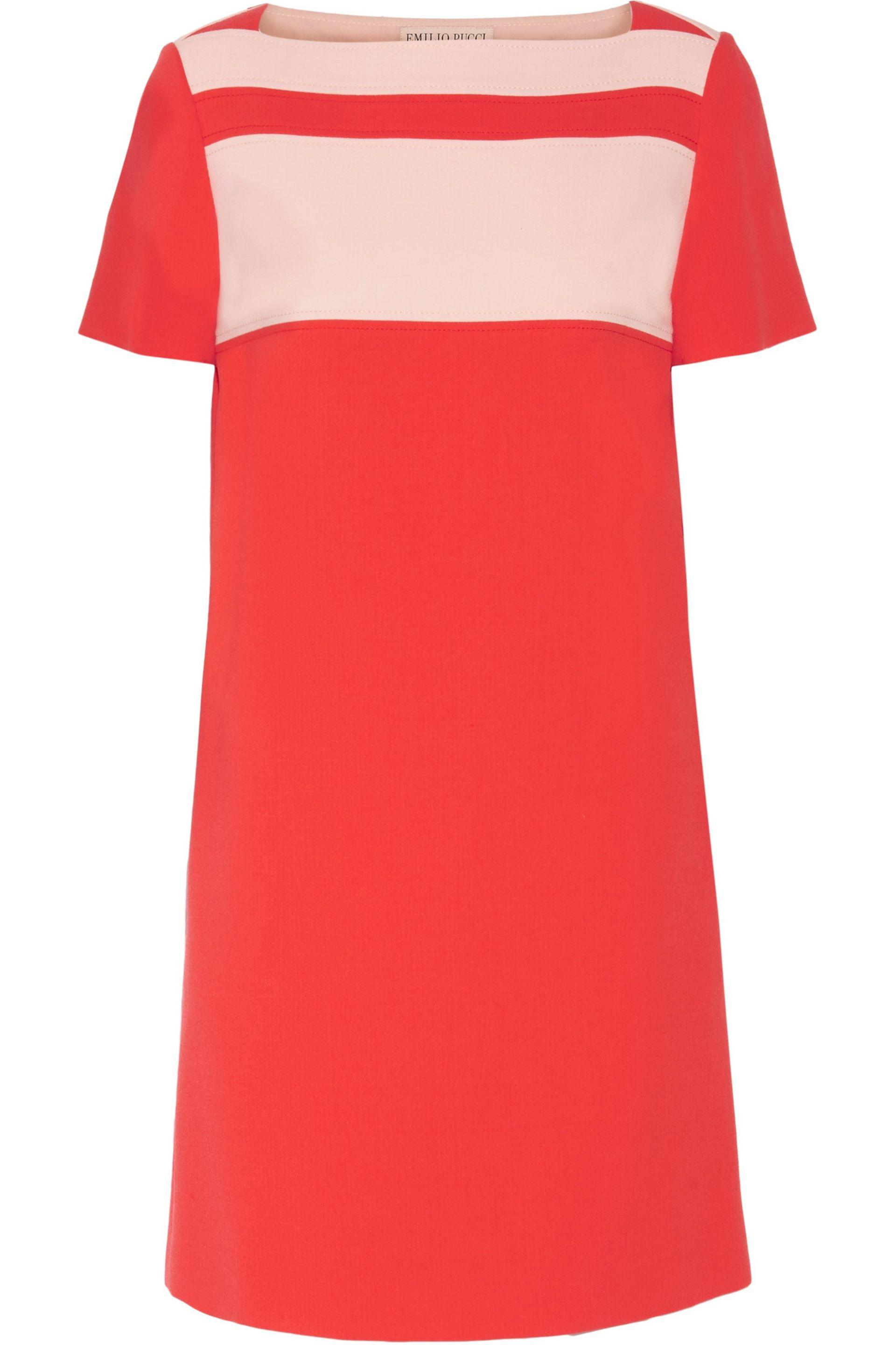 Emilio Pucci. Women's Red Two-tone Paneled Wool-blend Crepe Mini Dress