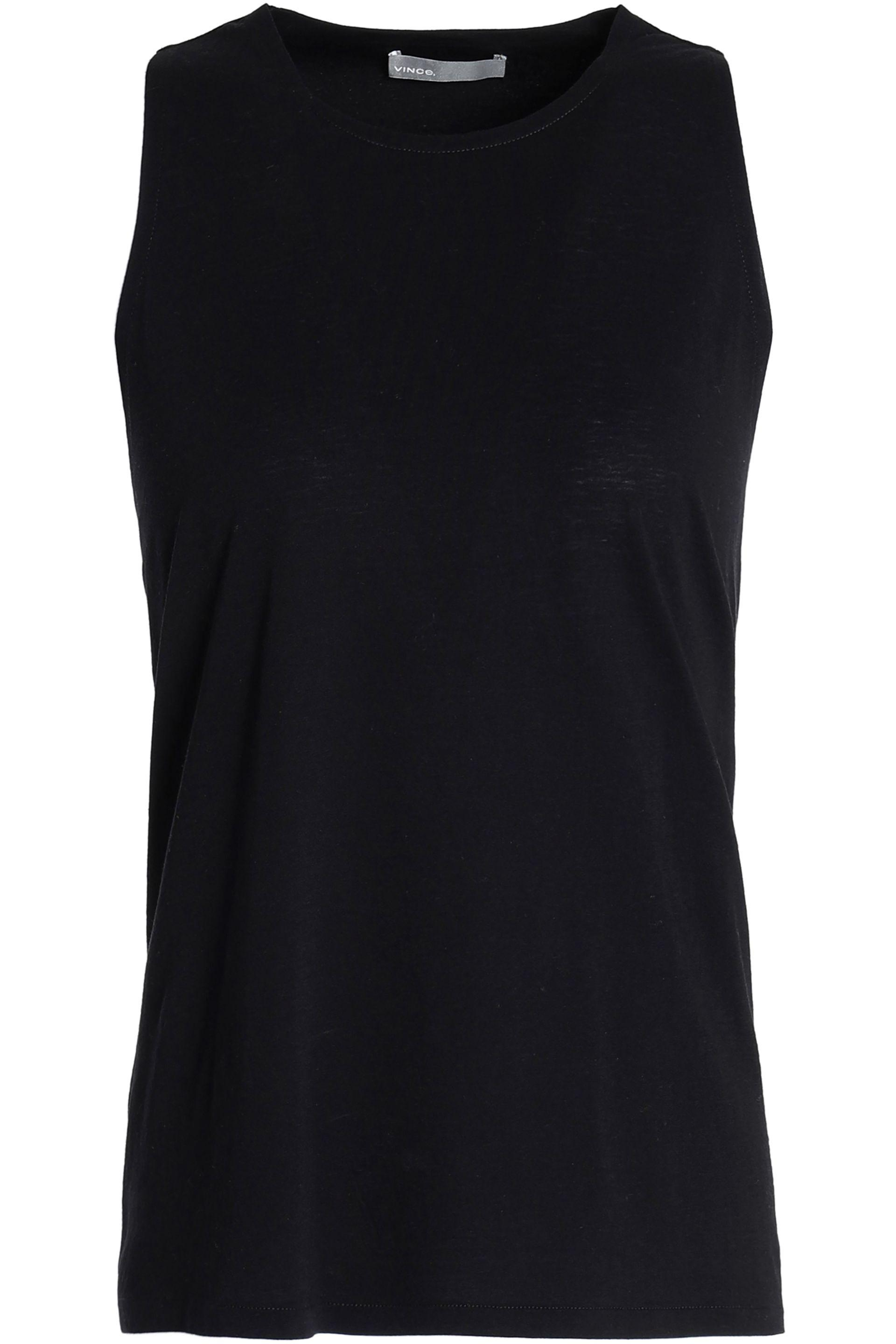 389c1e9ee79c3c Vince Woman Twist-back Cotton And Silk-blend Tank Midnight Blue in ...